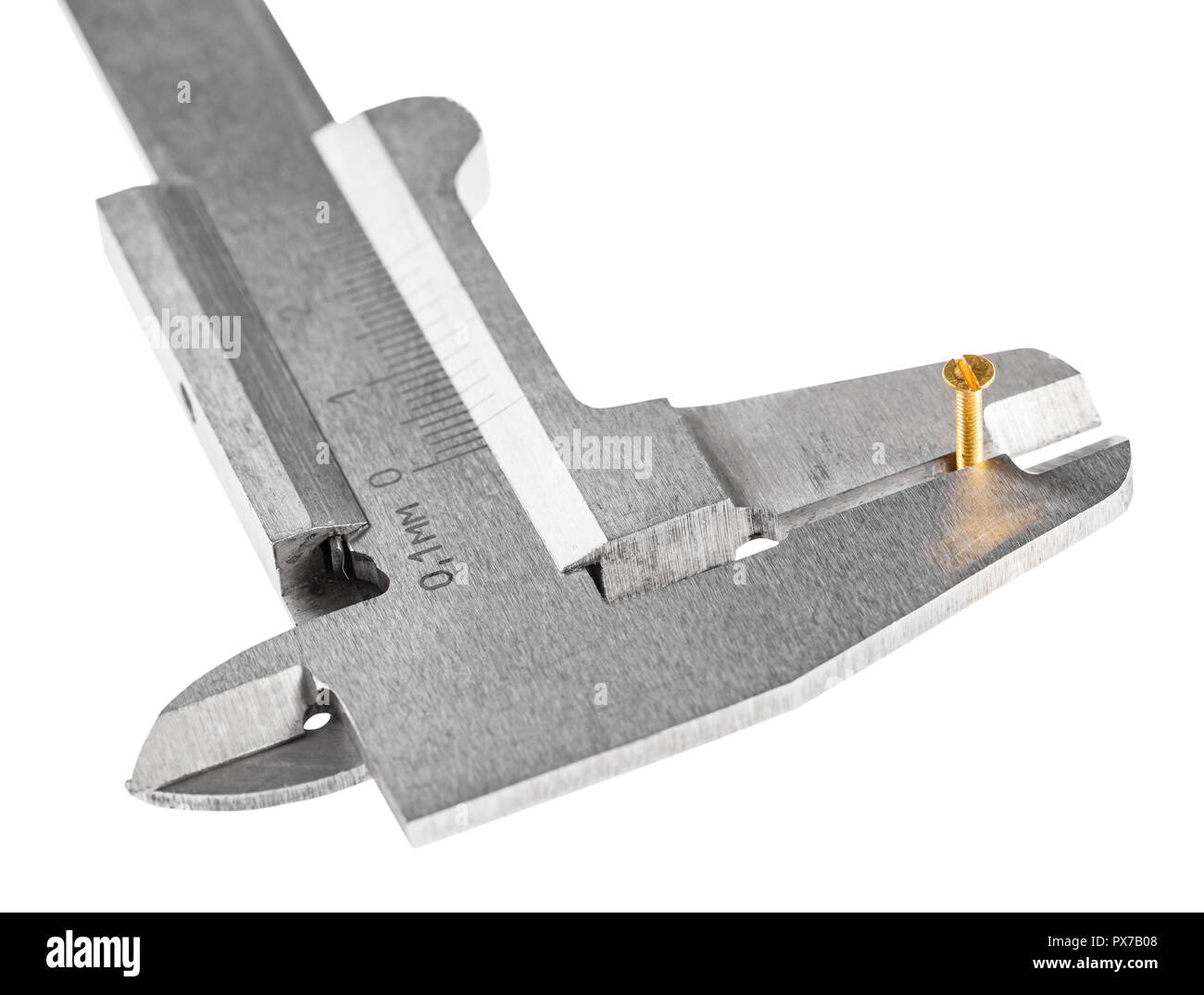 above view of old steel callipers measures brass screw close up isolated on white background - Stock Image
