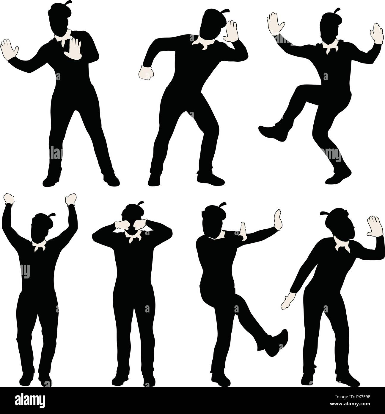 man mime silhouette set - Stock Vector