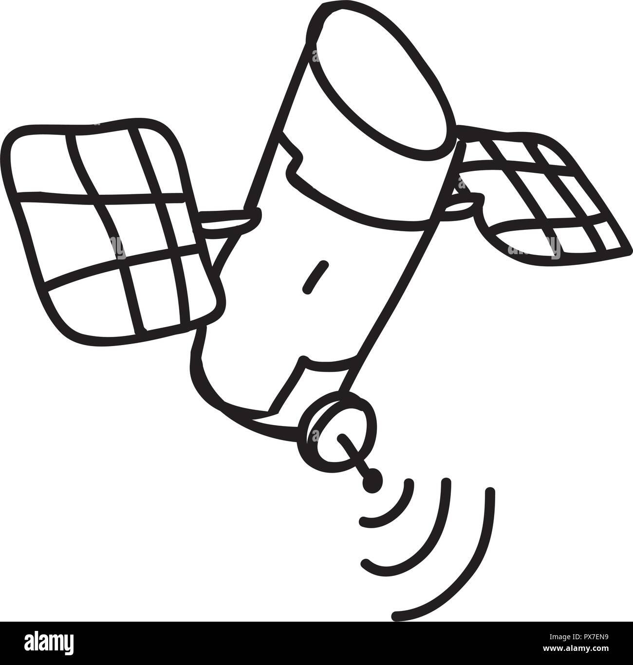 artificial satellite orbiting icon vector illustration design - Stock Image