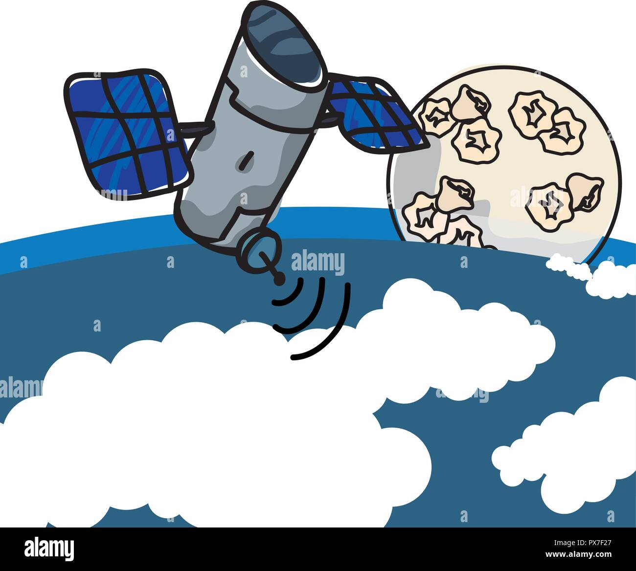 artificial satellite orbiting with earth planet and moon vector illustration - Stock Image