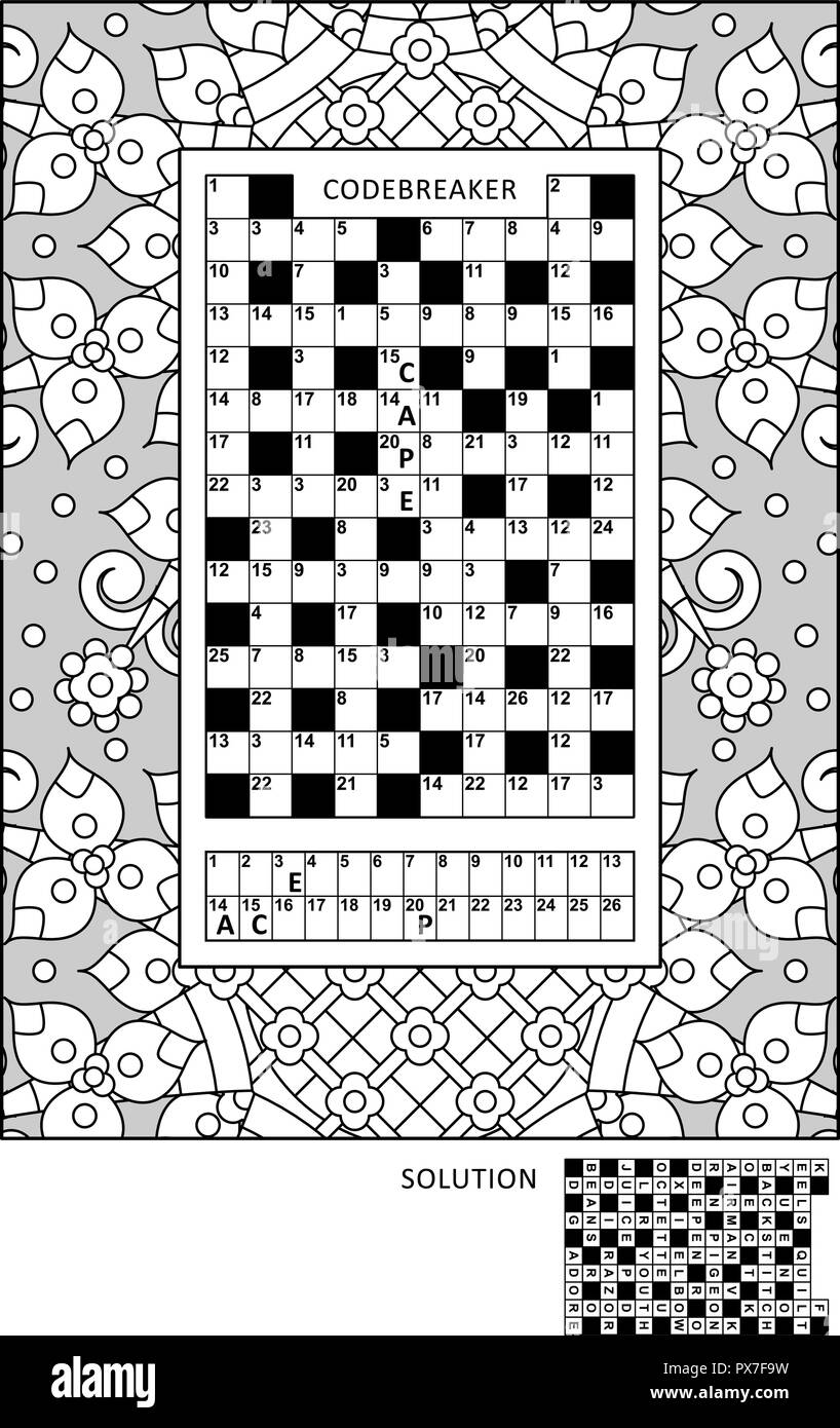 picture regarding Codeword Puzzles Printable known as Puzzle and coloring match website page for developed-ups with