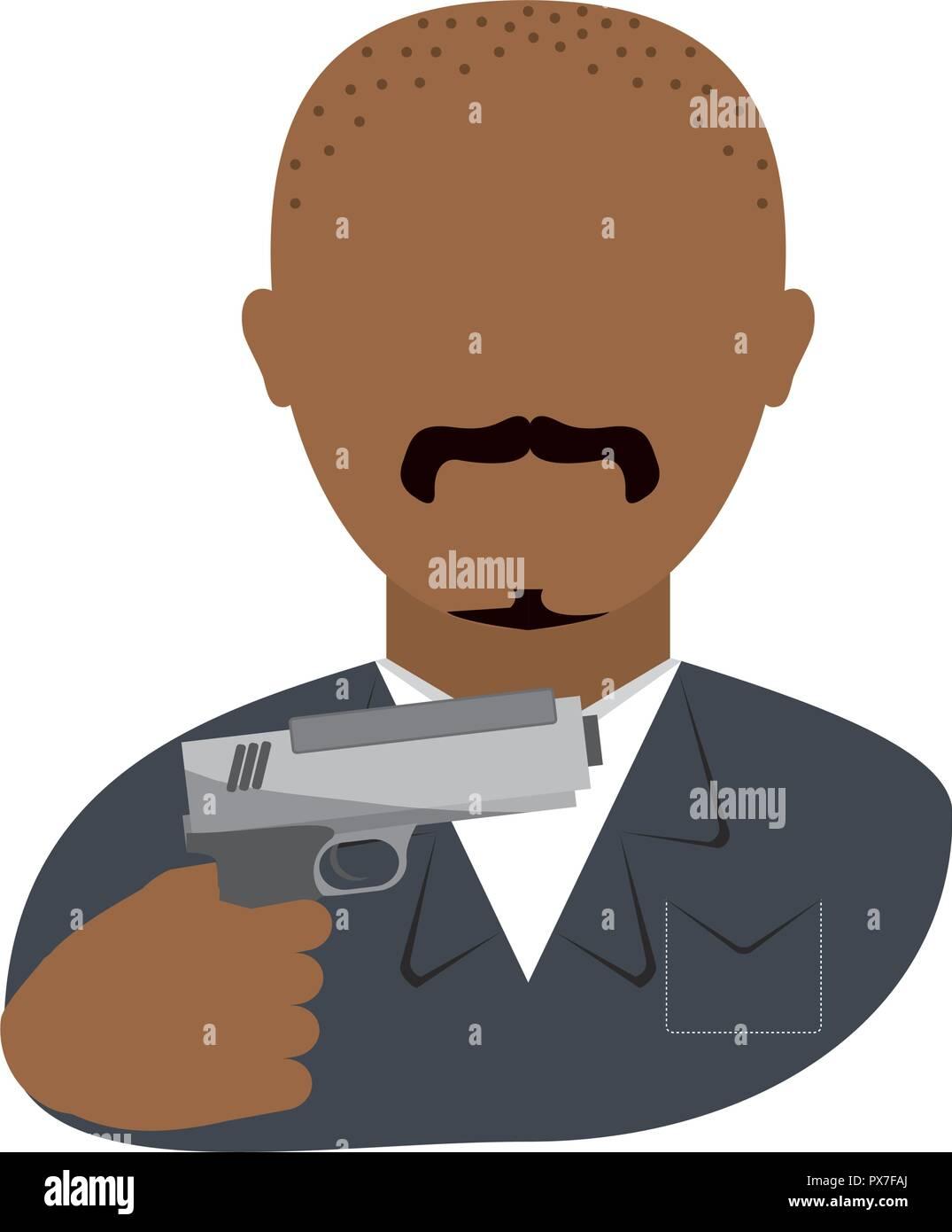 danger bandit with gun avatar character vector illustration design - Stock Image