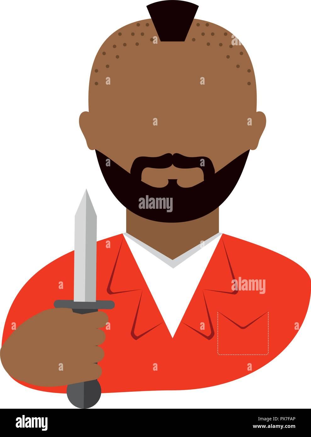 danger bandit with knife avatar character vector illustration design - Stock Image