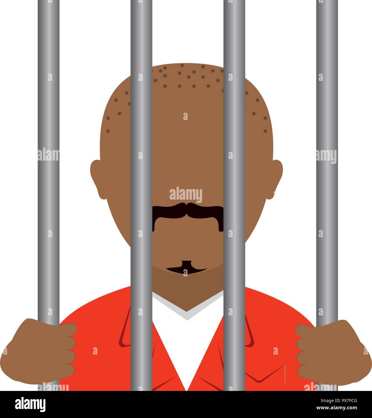 danger bandit in jail avatar character vector illustration design - Stock Image