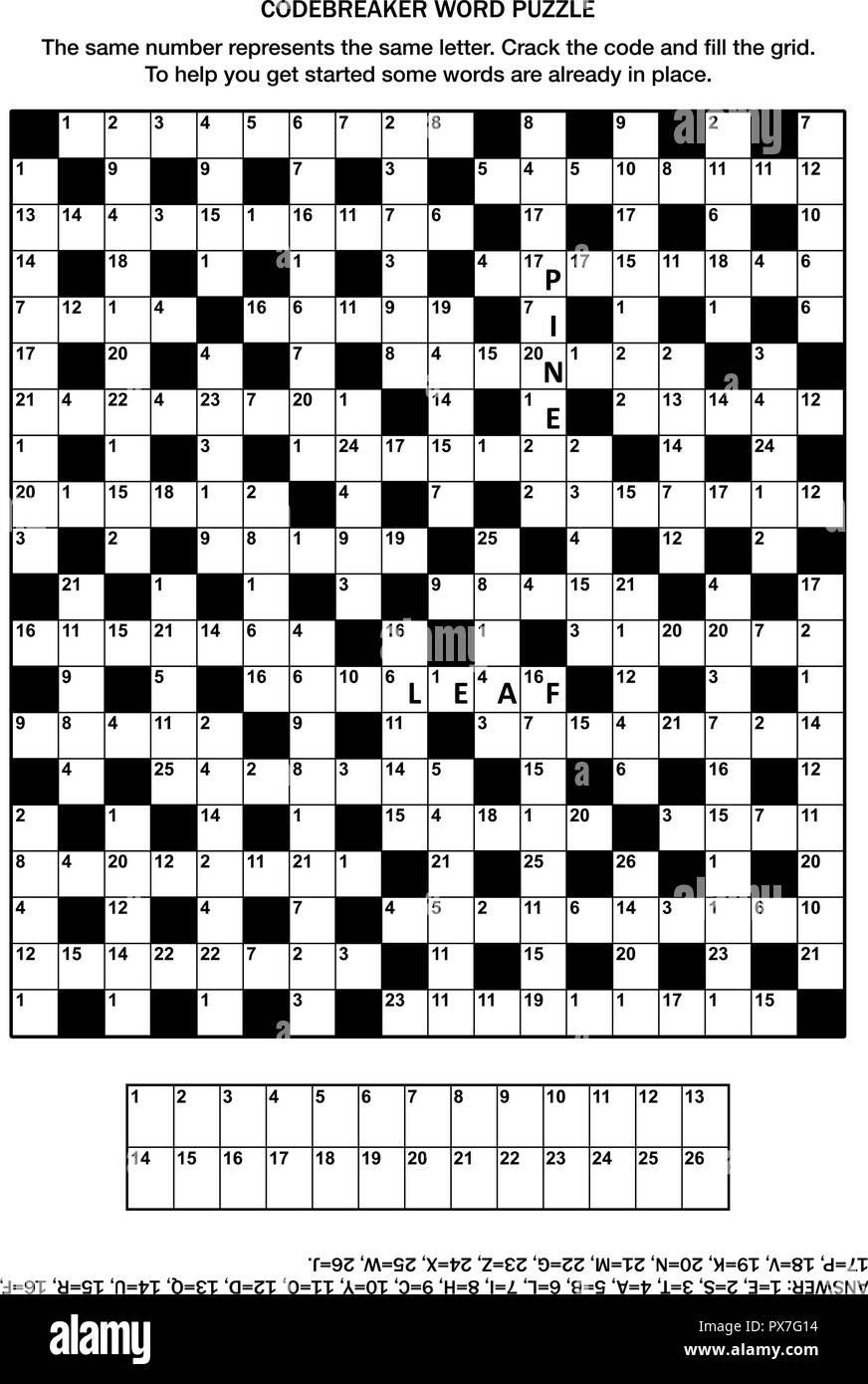 5fd8befd Puzzle page with codebreaker (codeword, code cracker) word game or  crossword puzzle -