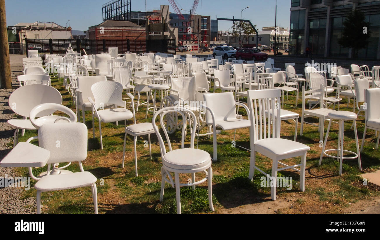 185 Empty Chairs, Memorial in Christchurch, South Island, New Zealand Stock Photo