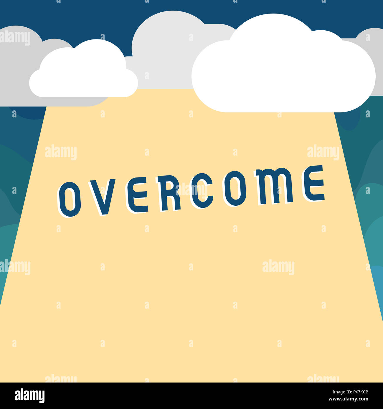 Handwriting text Overcome. Concept meaning succeed in dealing with problem or difficulty defeat opponent. - Stock Image