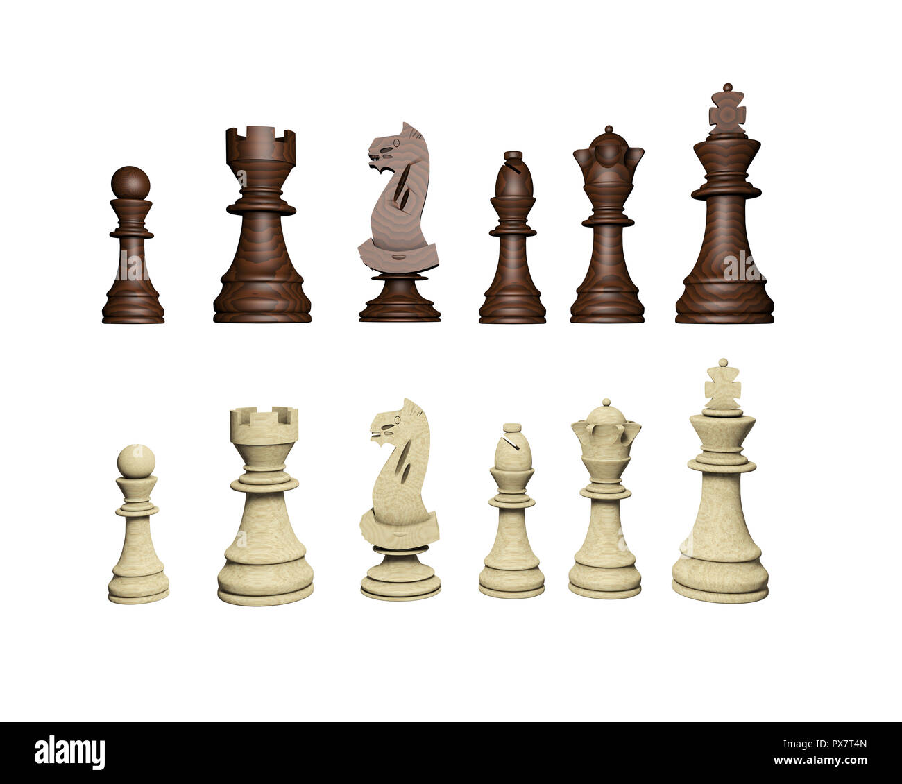 3d. chess game pieces, figures. Chess pieces standing together - Stock Image