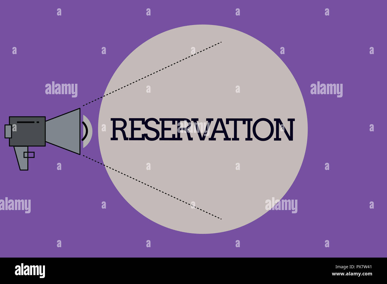 Text sign showing Reservation. Conceptual photo Arrangement made so a seat somewhere is kept for someone. - Stock Image