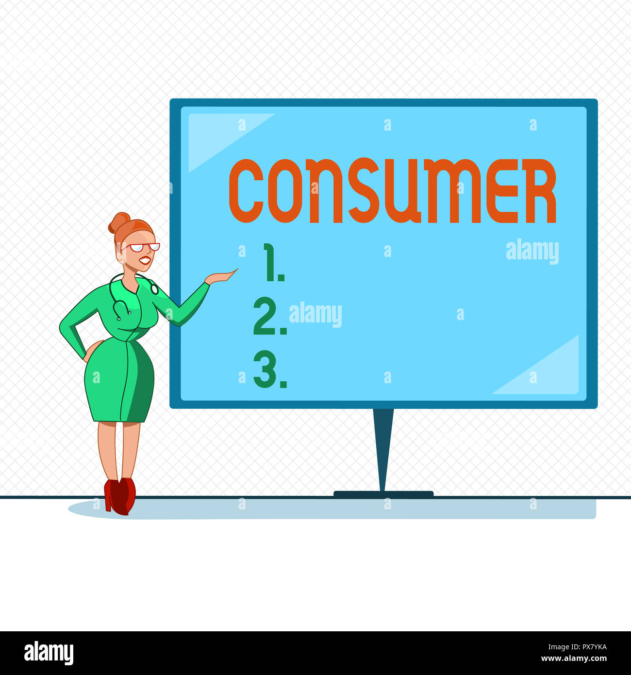 Writing note showing Consumer. Business photo showcasing demonstrating who purchases goods and services for demonstratingal usage. - Stock Image