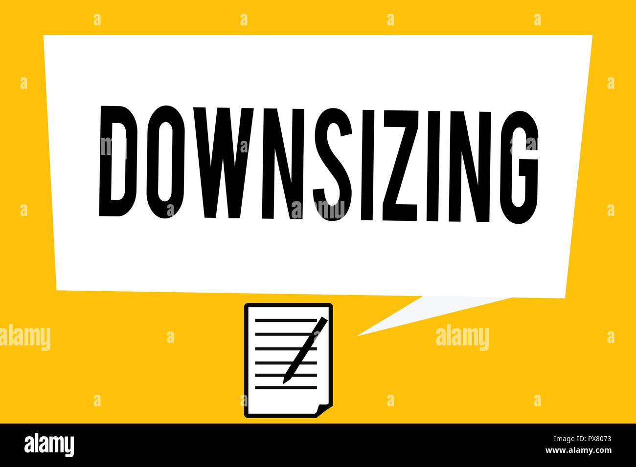 Handwriting text writing Downsizing. Concept meaning Make a company smaller by shedding staff Expenses reduction. - Stock Image