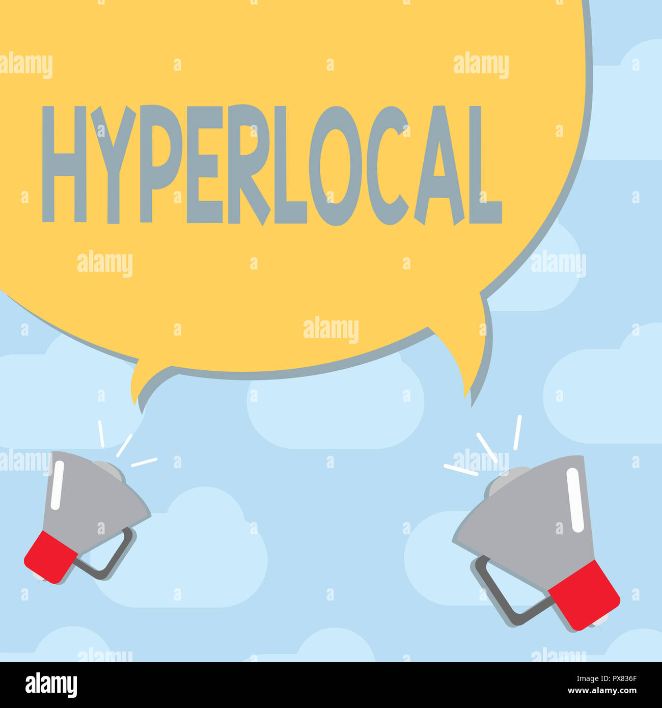 Text sign showing Hyperlocal. Conceptual photo Relating to Concerning a small community or geographical area. Stock Photo