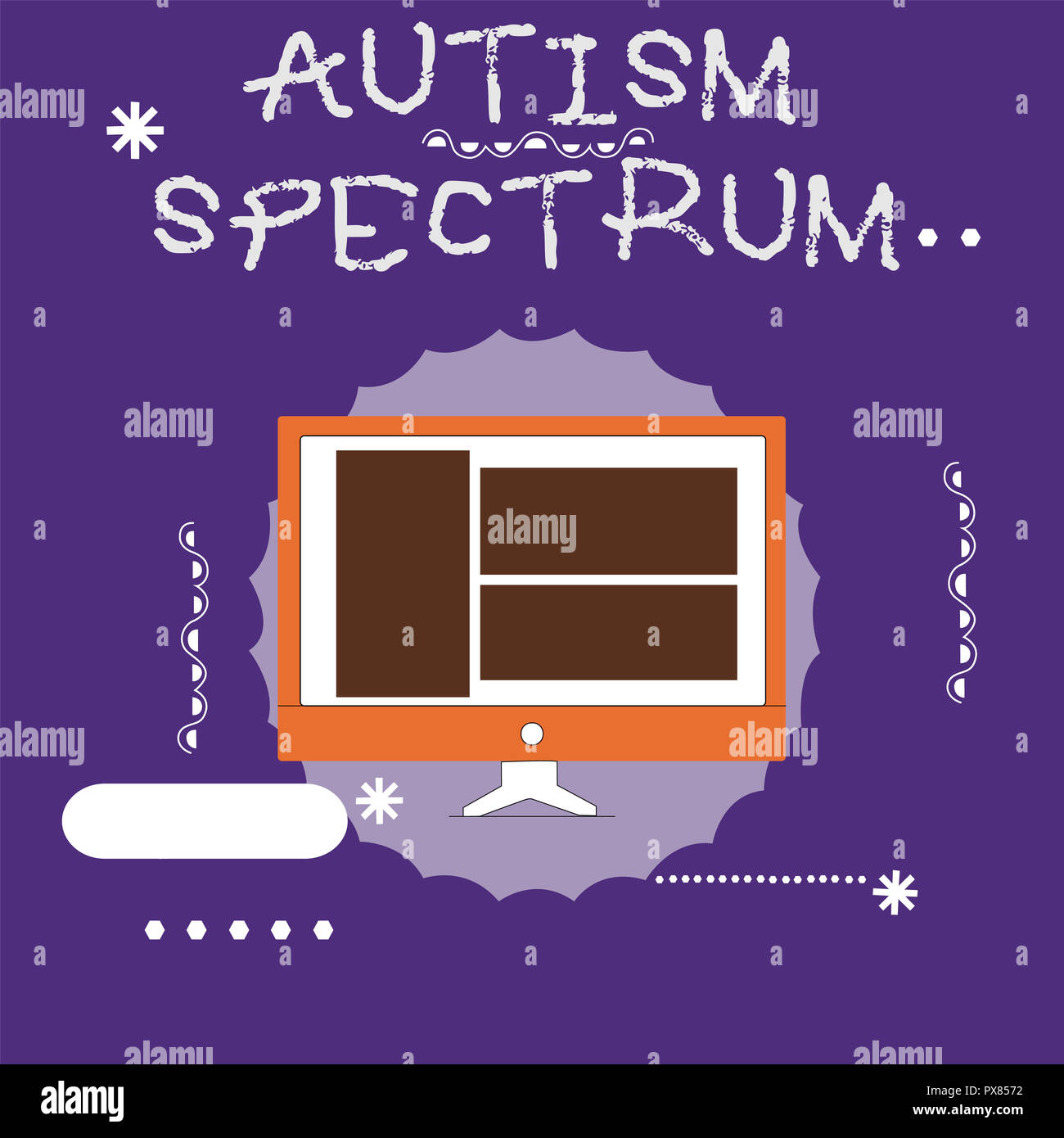 Writing note showing Autism Spectrum. Business photo showcasing impairments in the ability to communicate and socialize. - Stock Image
