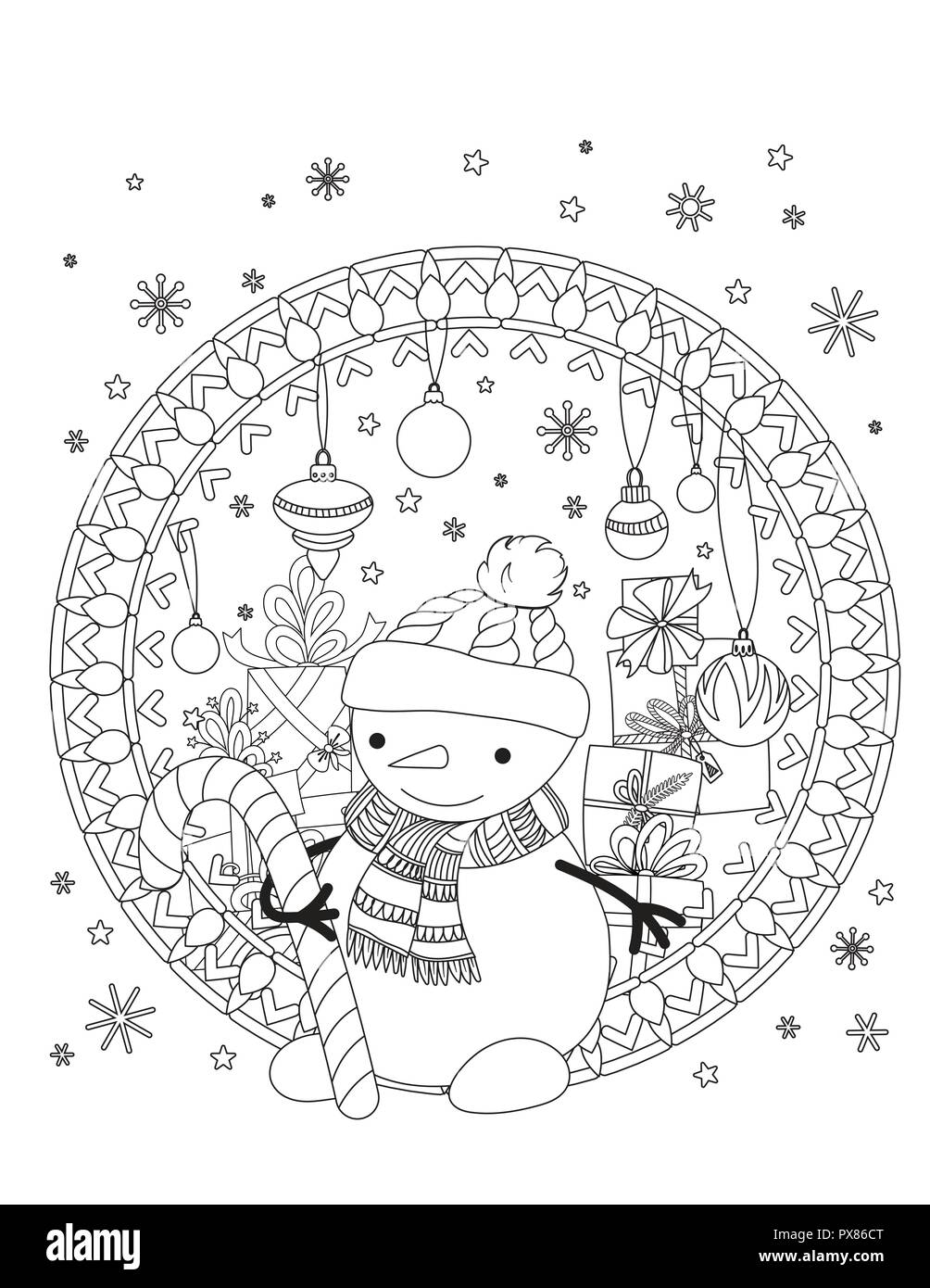 christmas coloring page adult coloring book cute snowman with scarf and knitted cap holiday decoration and pile of presents hand drawn outline vector