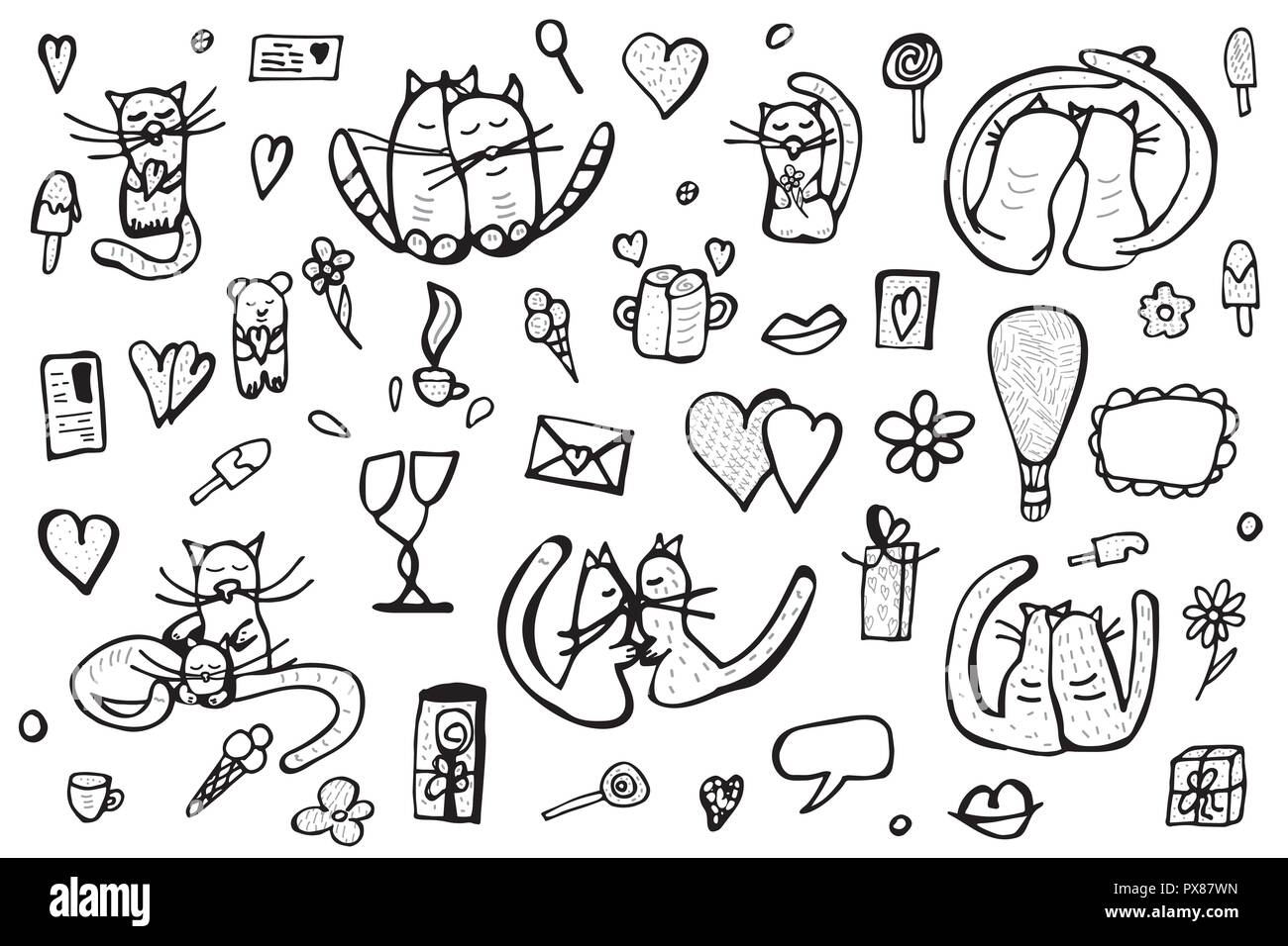 Doodle Set With Cute Love Symbols Cats And Valentine Day Objects