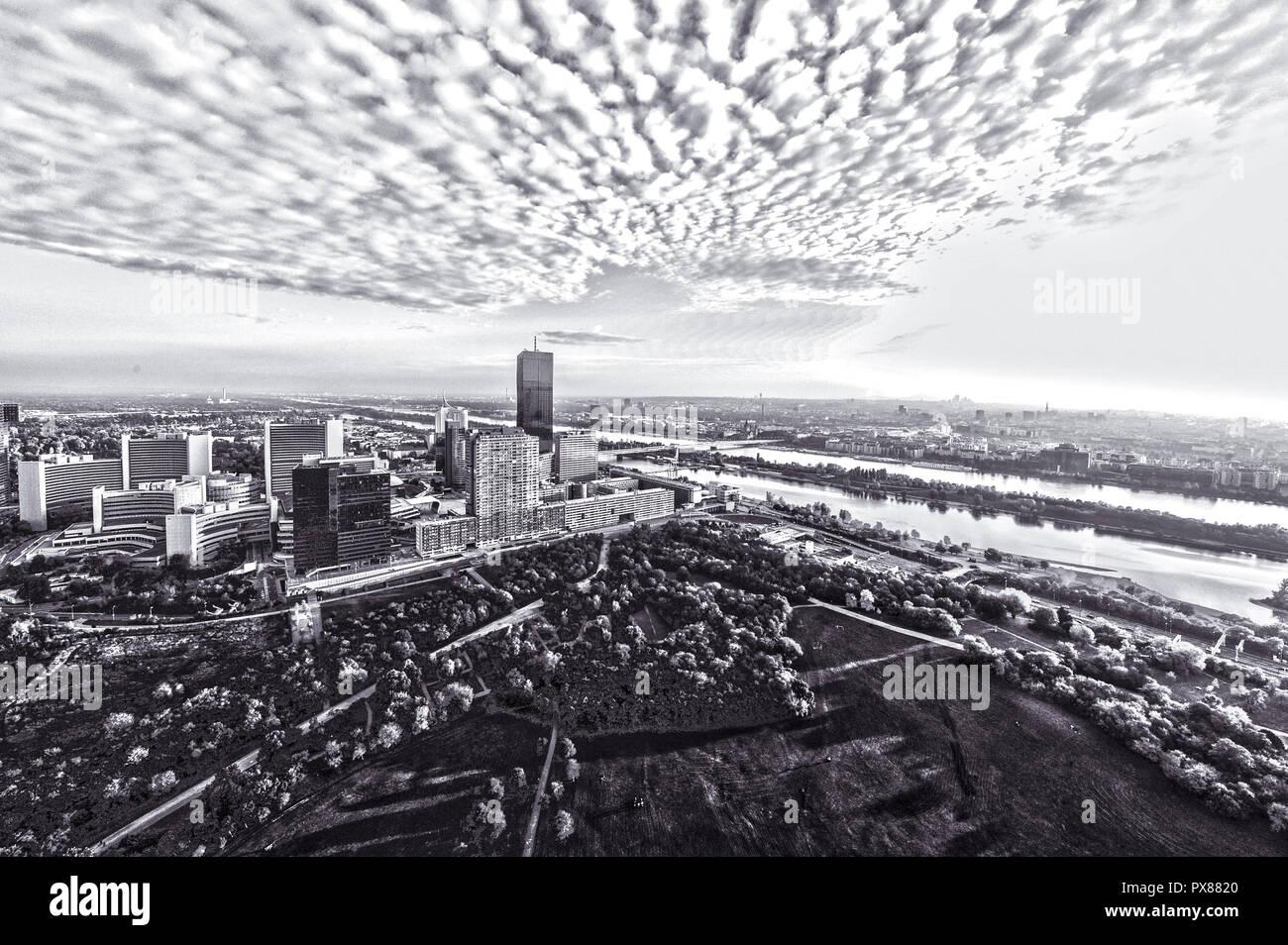 Vienna, skyline, Danube city, DC Tower 1, 2013, highest building of Vienna, 250 m, architect Dominique Perrault, Austria, 22. District, Donaucity - Stock Image