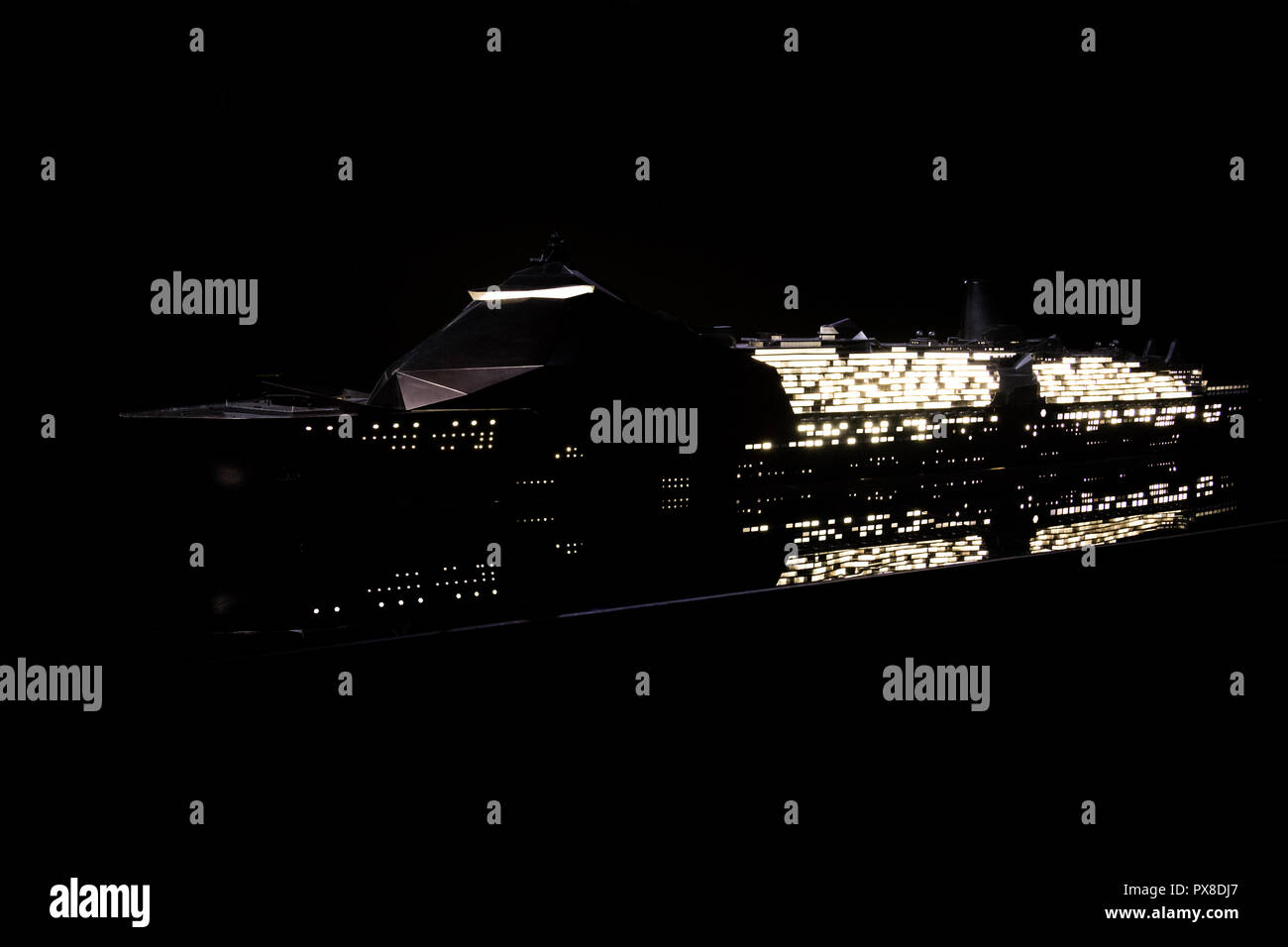 A model of the fictional cruise ship Sea of Tranquillity, by Belgian artist Hans Op de Beeck on display at the Dutch National Maritime Museum. - Stock Image