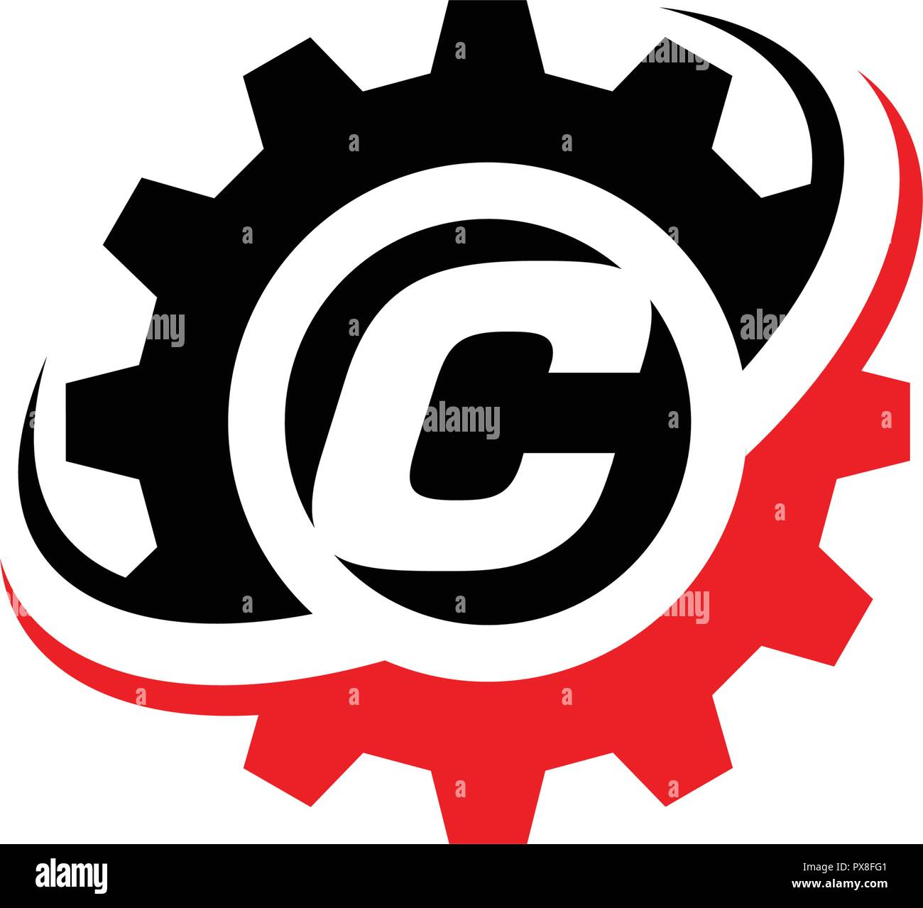 letter c gear logo design template stock vector art illustration