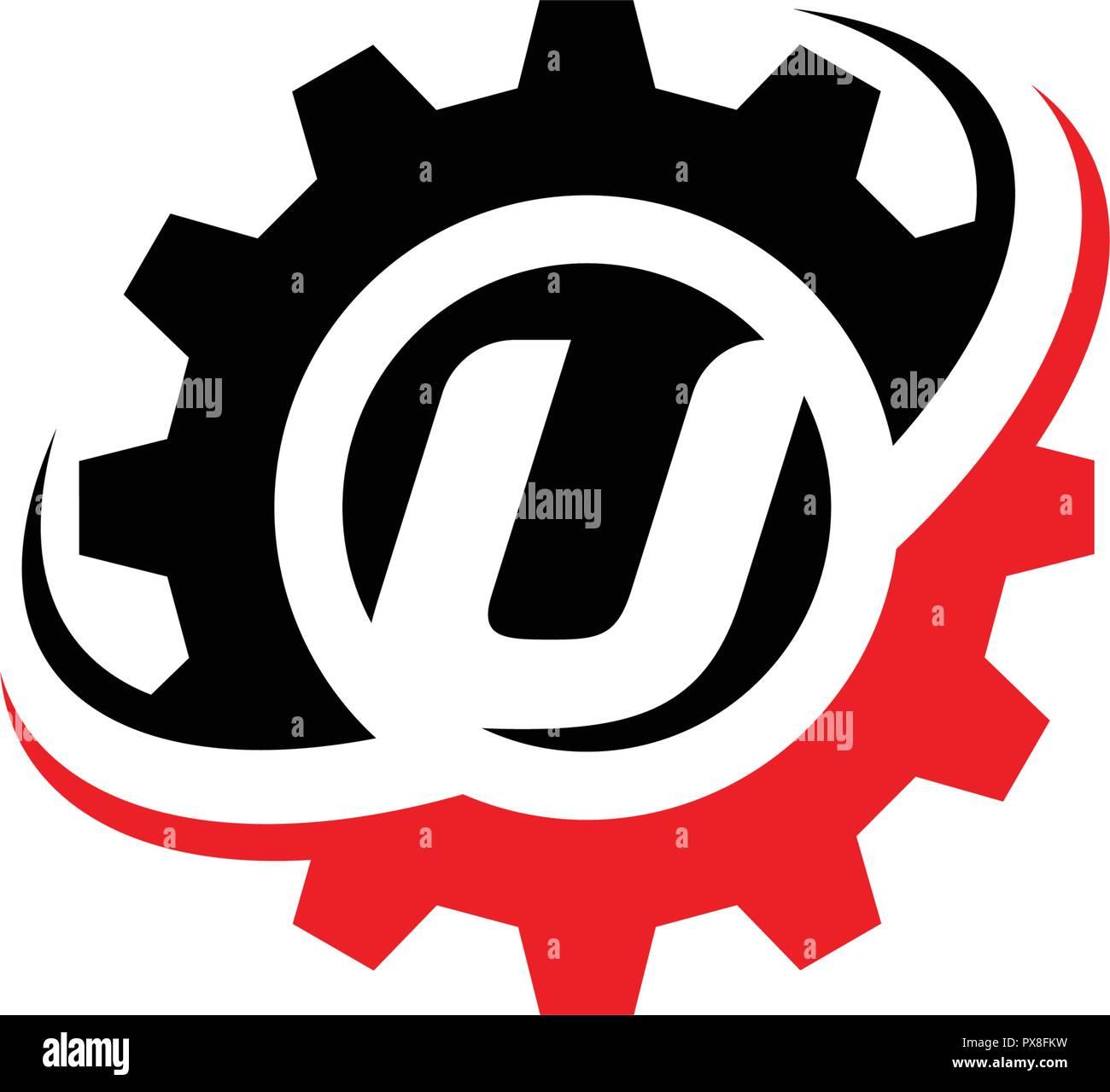 Letter U Gear Logo Design Template Stock Vector Art Illustration