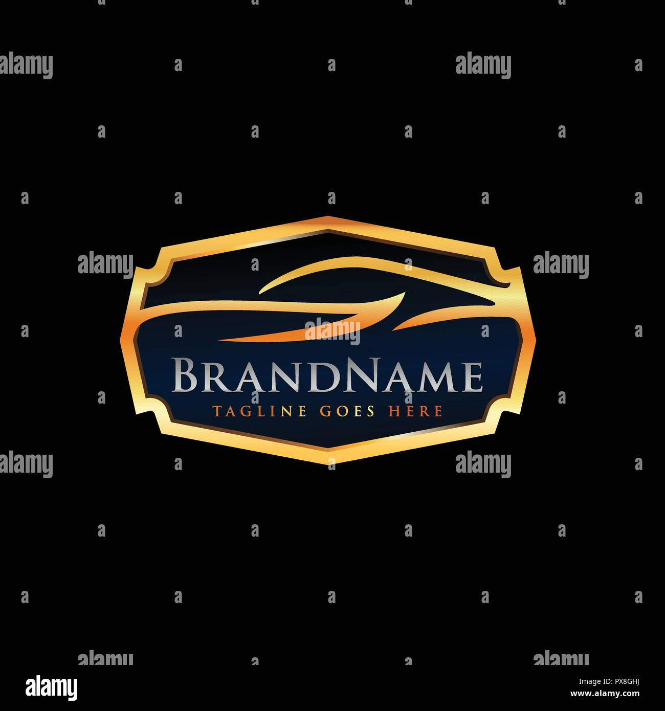 Automotive Logo Template With Luxury Car Illustration In Gold Emblem