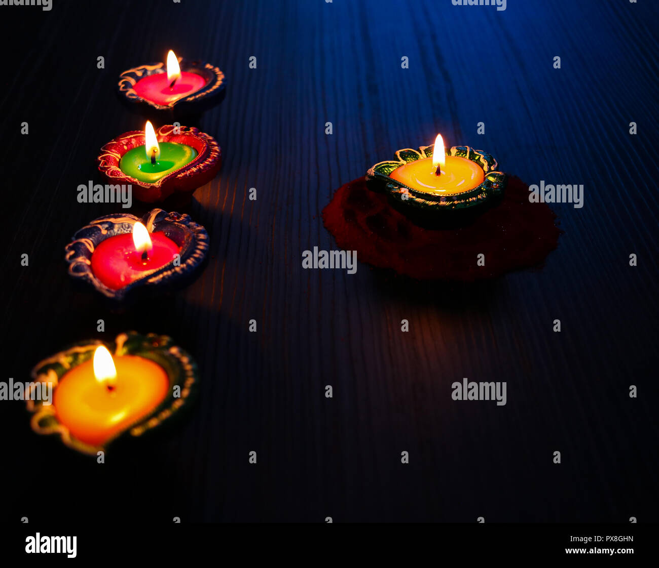 Diyas/Lamp decorated for Diwali celebration - Stock Image