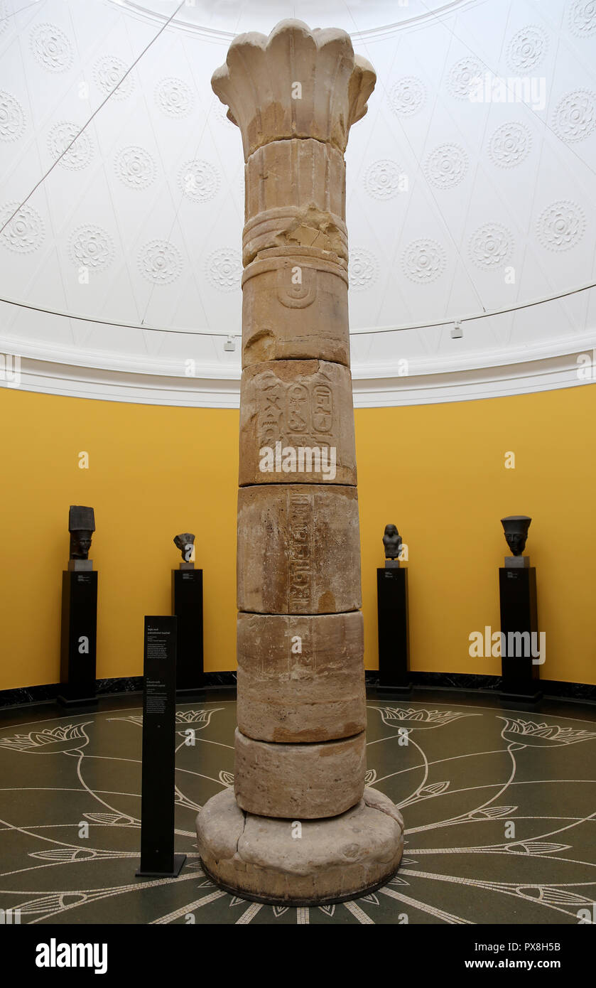 Column with palmiform capital (c. 690-664 BC) from the Temple of Taharqa, pharaoh of the 25th Dynasty, in Kawa, Ancient Egypt. - Stock Image