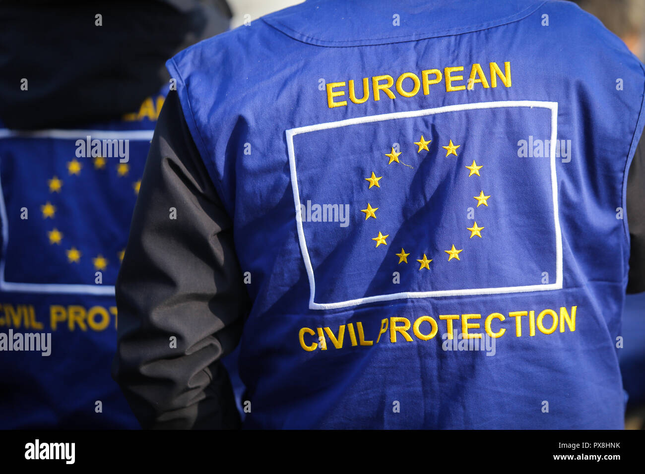 European civil protection and humanitarian aid operations uniform on a man - Stock Image