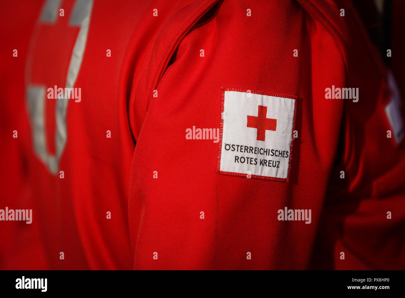 Details with the Austrian Red Cross symbol on a uniform Stock Photo