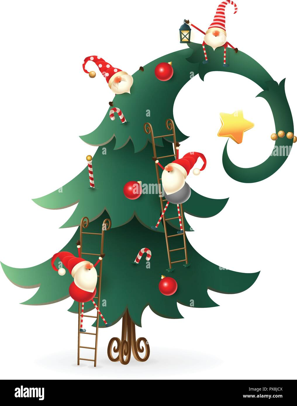 Christmas Tree Transparent Background.Christmas Tree Decorated With Scandinavian Gnomes Who Climb