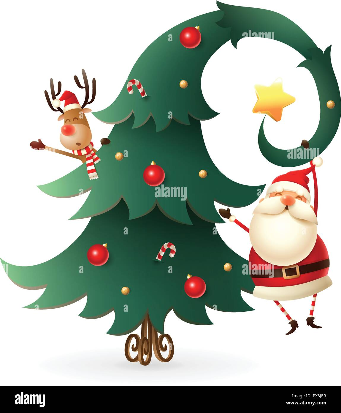 Christmas Transparent Background.Santa Claus And Reindeer Around The Christmas Tree On