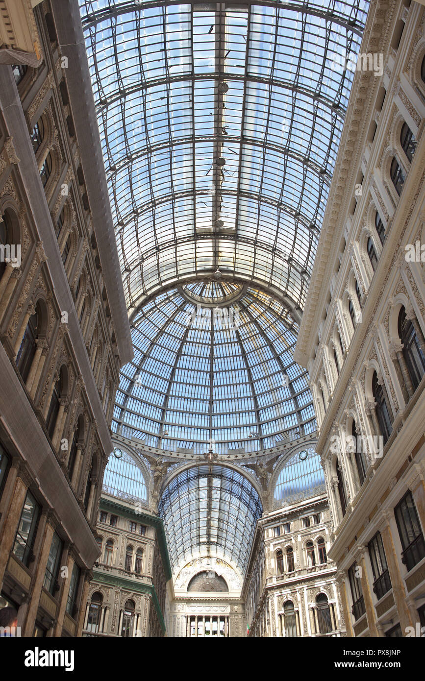 view of glass roof in shopping centre in naples - Stock Image
