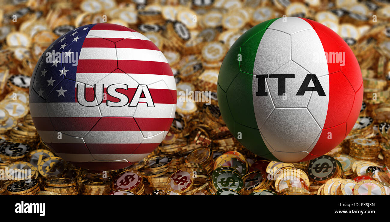 5a706aee4 USA Soccer Match - Soccer balls in Italy and USA national colors on a bed  of golden dollar coins. 3D Rendering