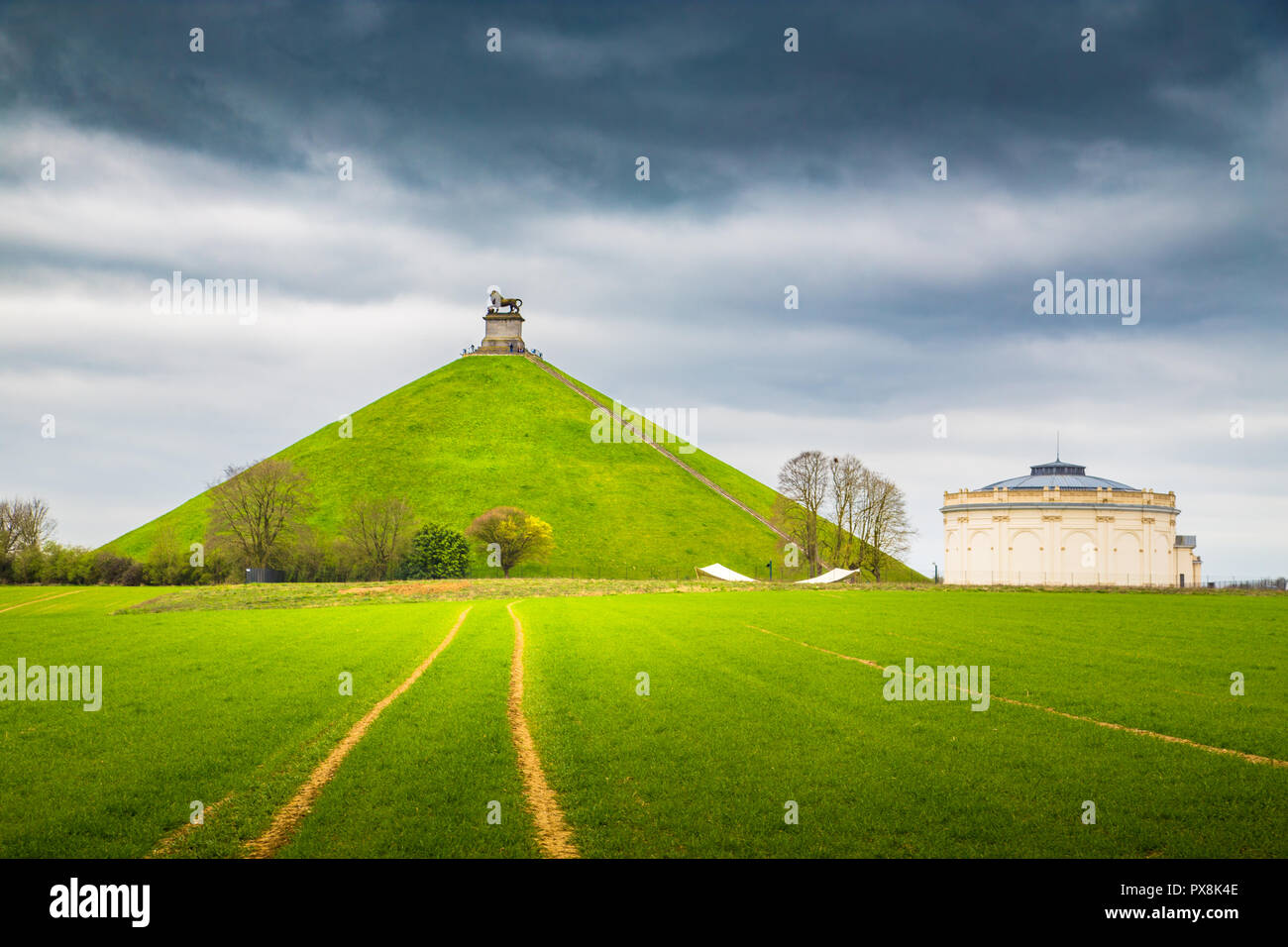 Panorama view of famous Lion's Mound (Butte du Lion) memorial site, a conical artificial hill located in the municipality of Braine-l'Alleud comemmora - Stock Image