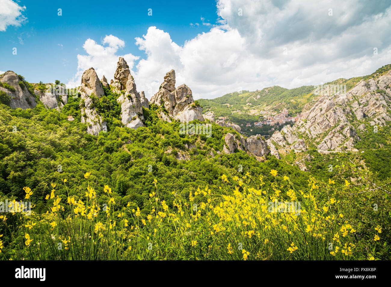 Panoramic view of famous Lucan Dolomites with beautiful mountain village of Castelmezzano in summer, Basilicata, Italy - Stock Image