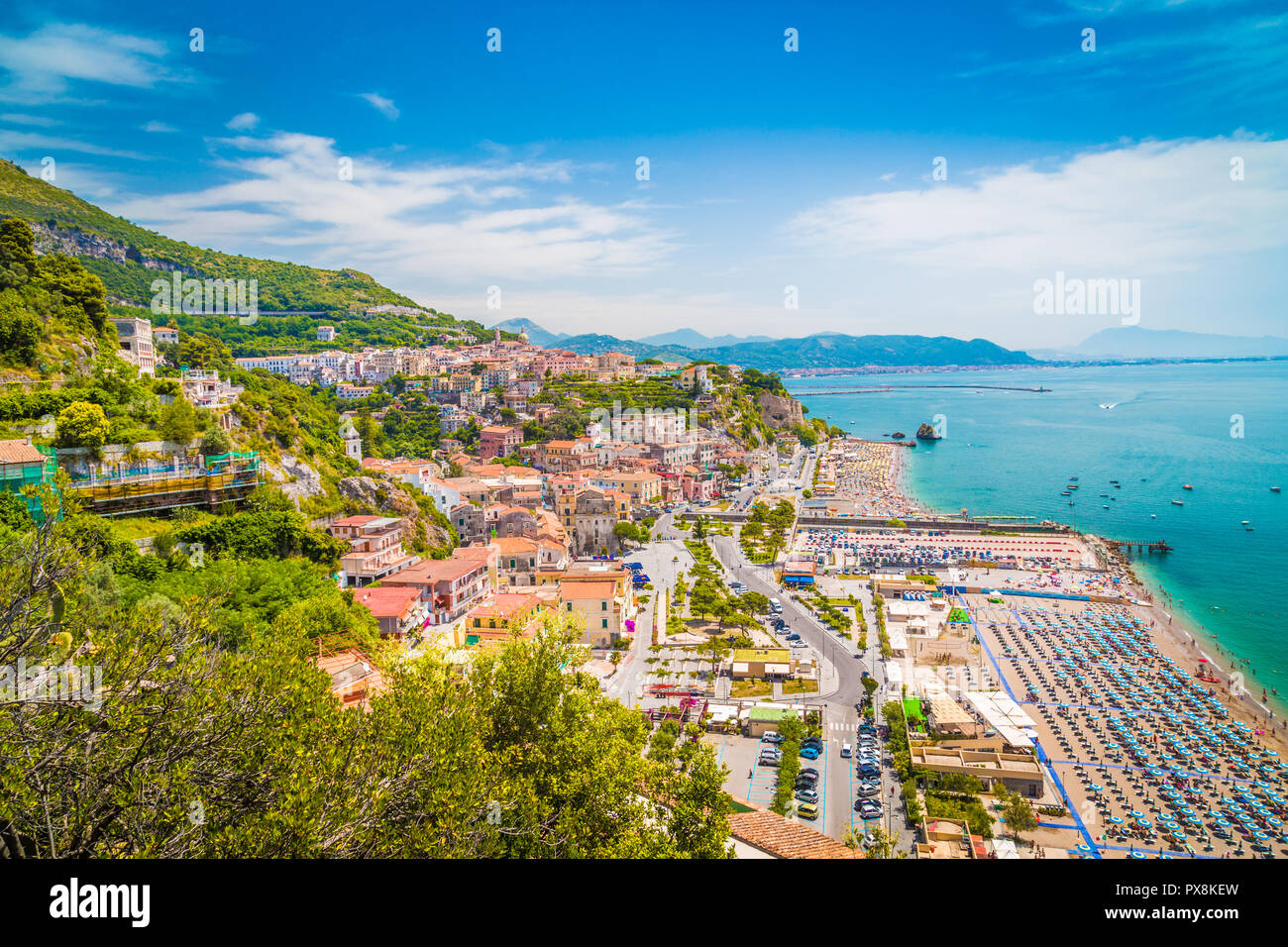 Beautiful view of Vietri sul Mare, the first town on the Amalfi Coast, with the Gulf of Salerno, province of Salerno, Campania, southern Italy Stock Photo