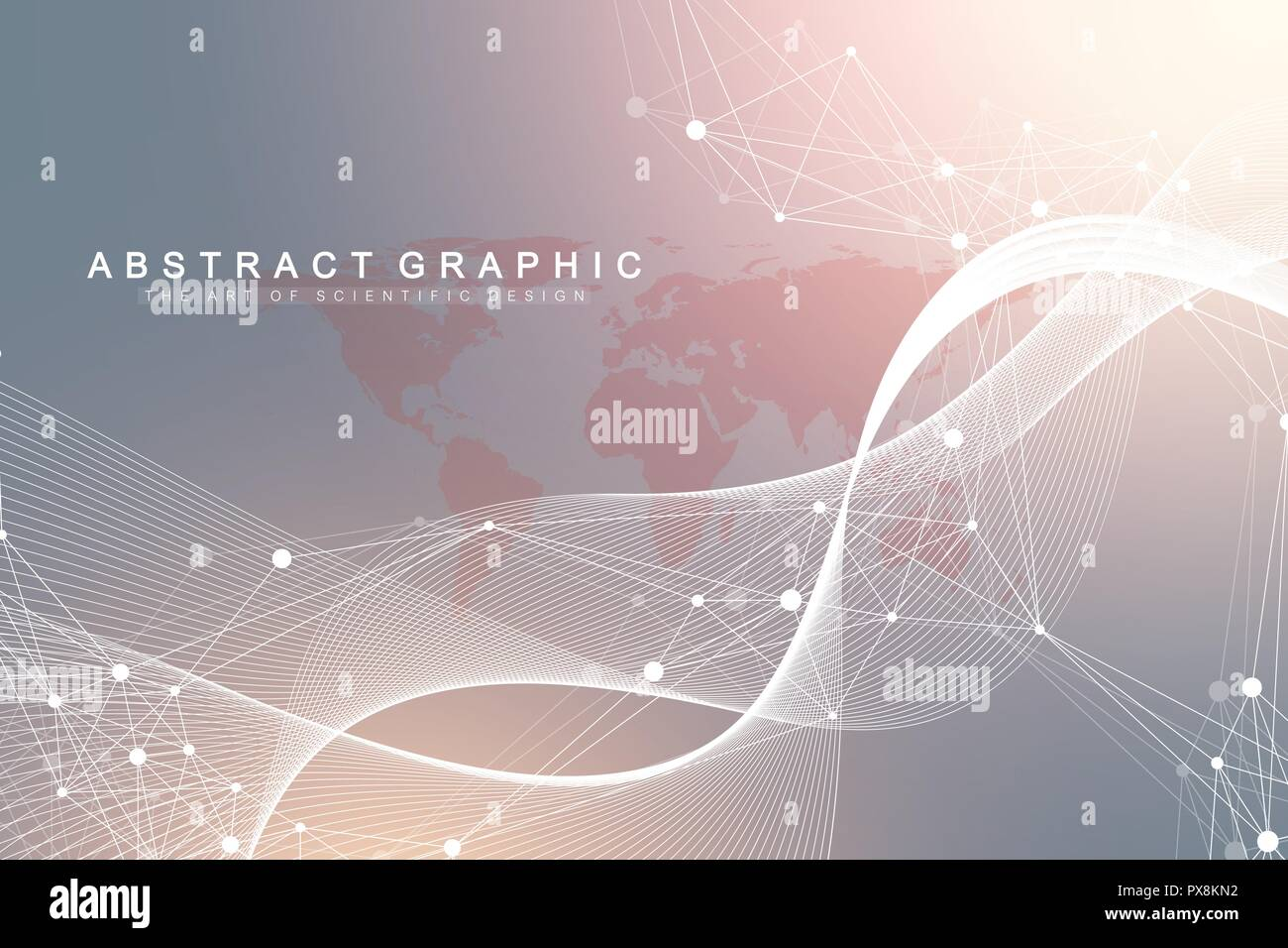 Big data visualization. Graphic abstract background communication. Perspective backdrop visualization. Analytical network visualization. Vector illustration. - Stock Image