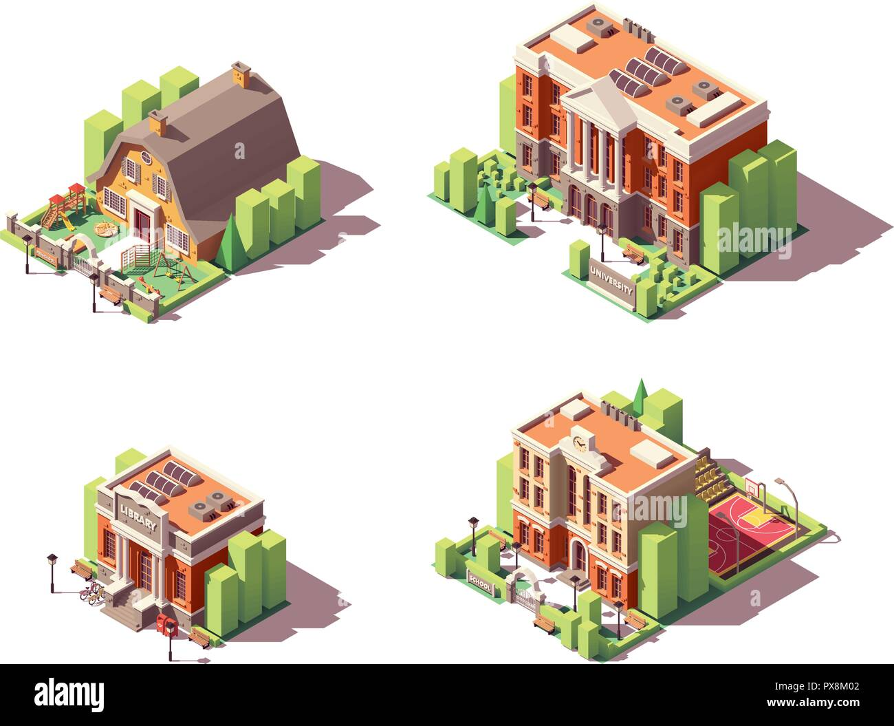 Vector isometric educational buildings set - Stock Image