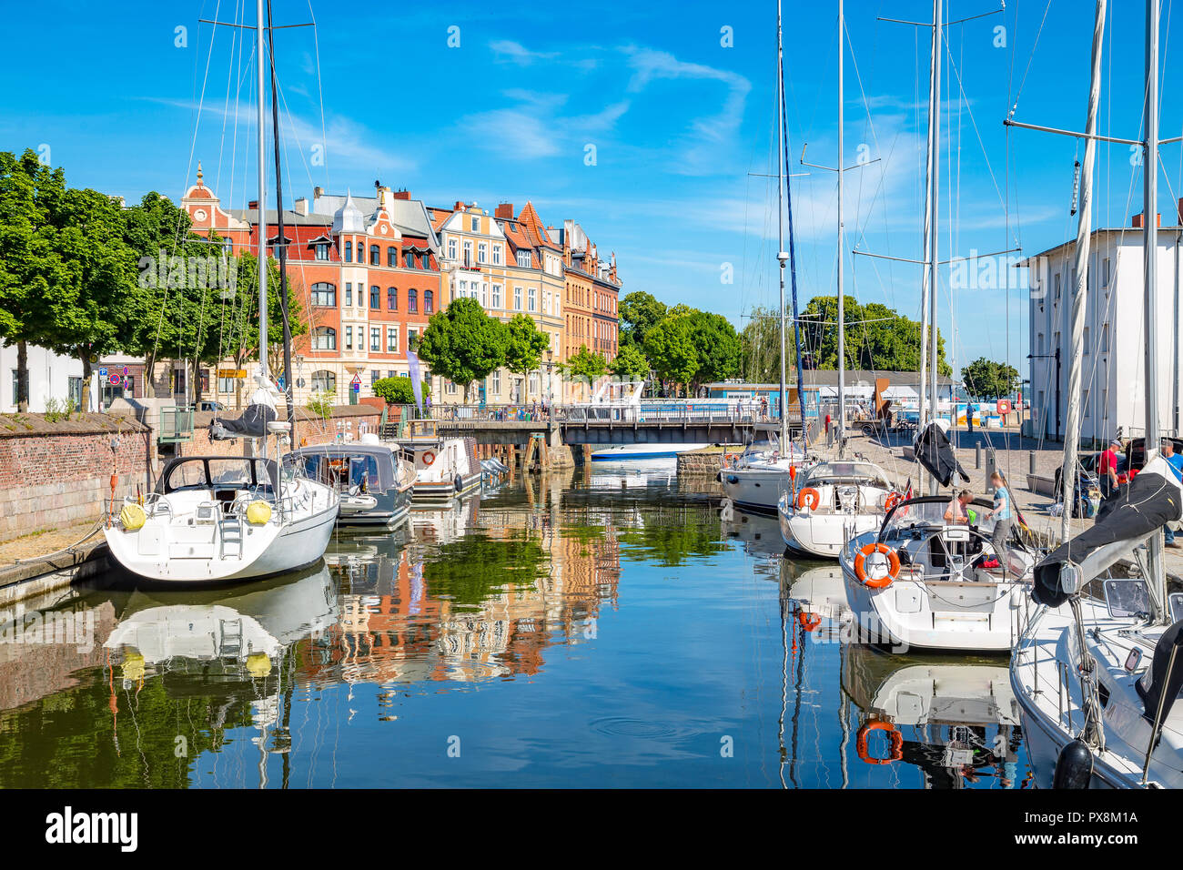 Classic panoramic view of the hanseatic city of Stralsund with sailing boats in summer, Mecklenburg-Vorpommern, Germany - Stock Image