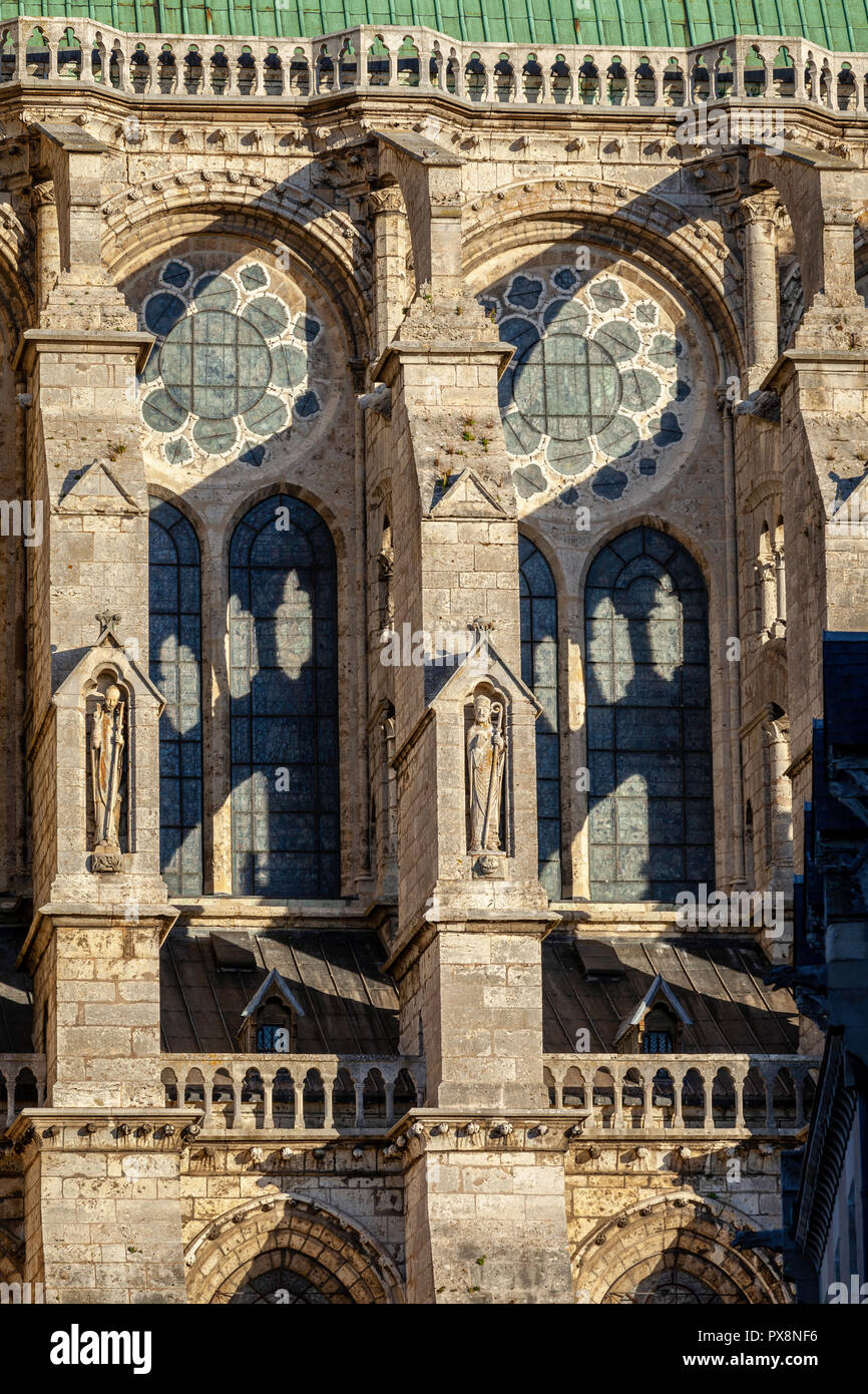 Detail of flying buttress on Cathedral de Notre Dame, Chartres, France. Stock Photo