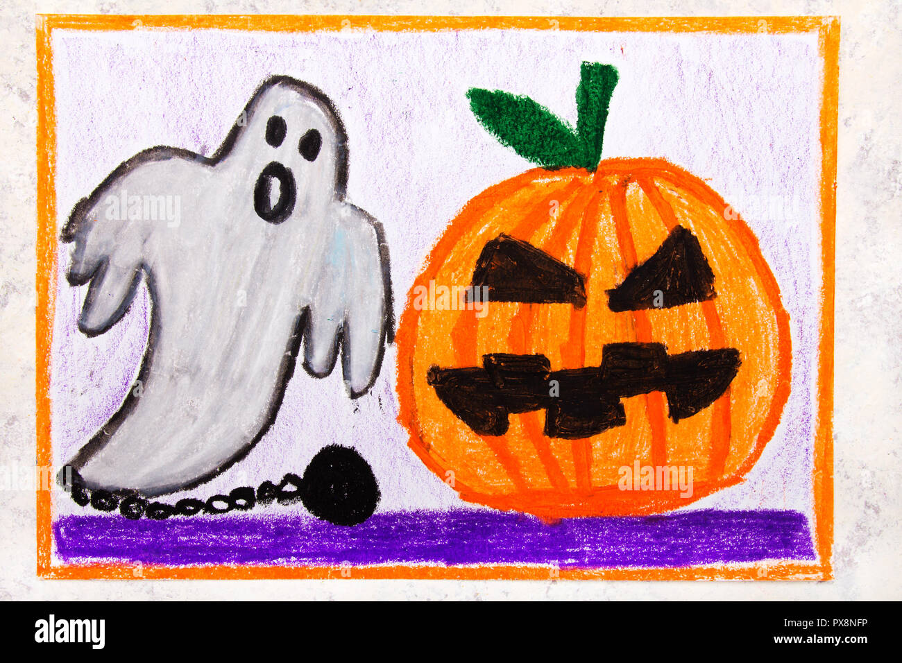 Colorful Hand Drawing Cute Hallowen Pumpkin And Scary Ghost Halloween Drawing On White Background Stock Photo Alamy