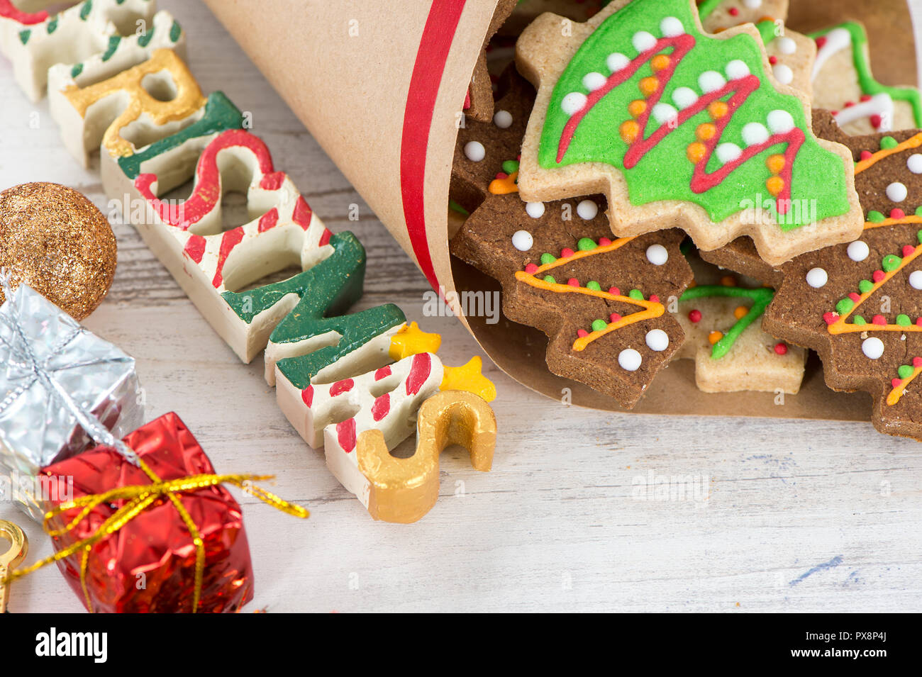 Tasty and cute baked Christmas cookies (gingerbread) with beautiful ...