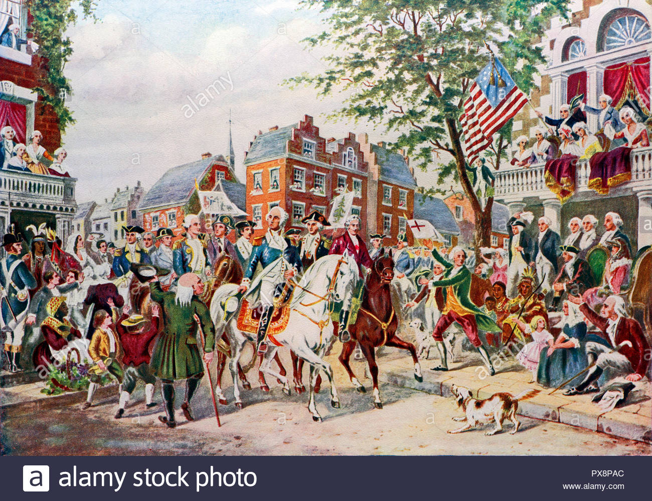 President elect George Washington's entry into New York April 23rd 1789, colour illustration from 1922 - Stock Image
