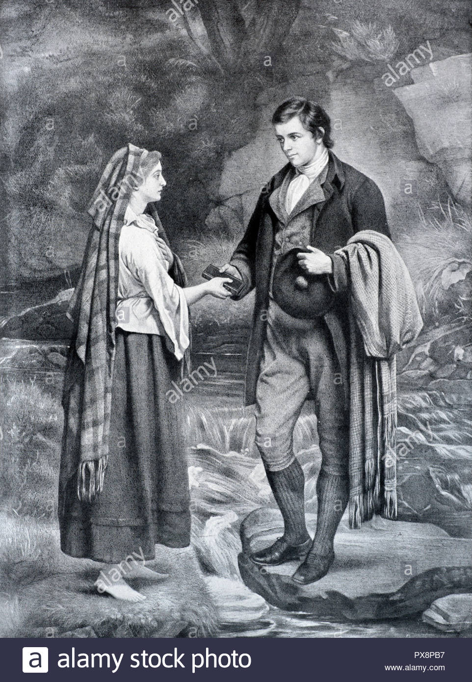 Robert Burns and and Mary Campbell exchanging vows on the banks of the River Ayr in 1785, where each gave the other a bible, illustration from 1922 - Stock Image