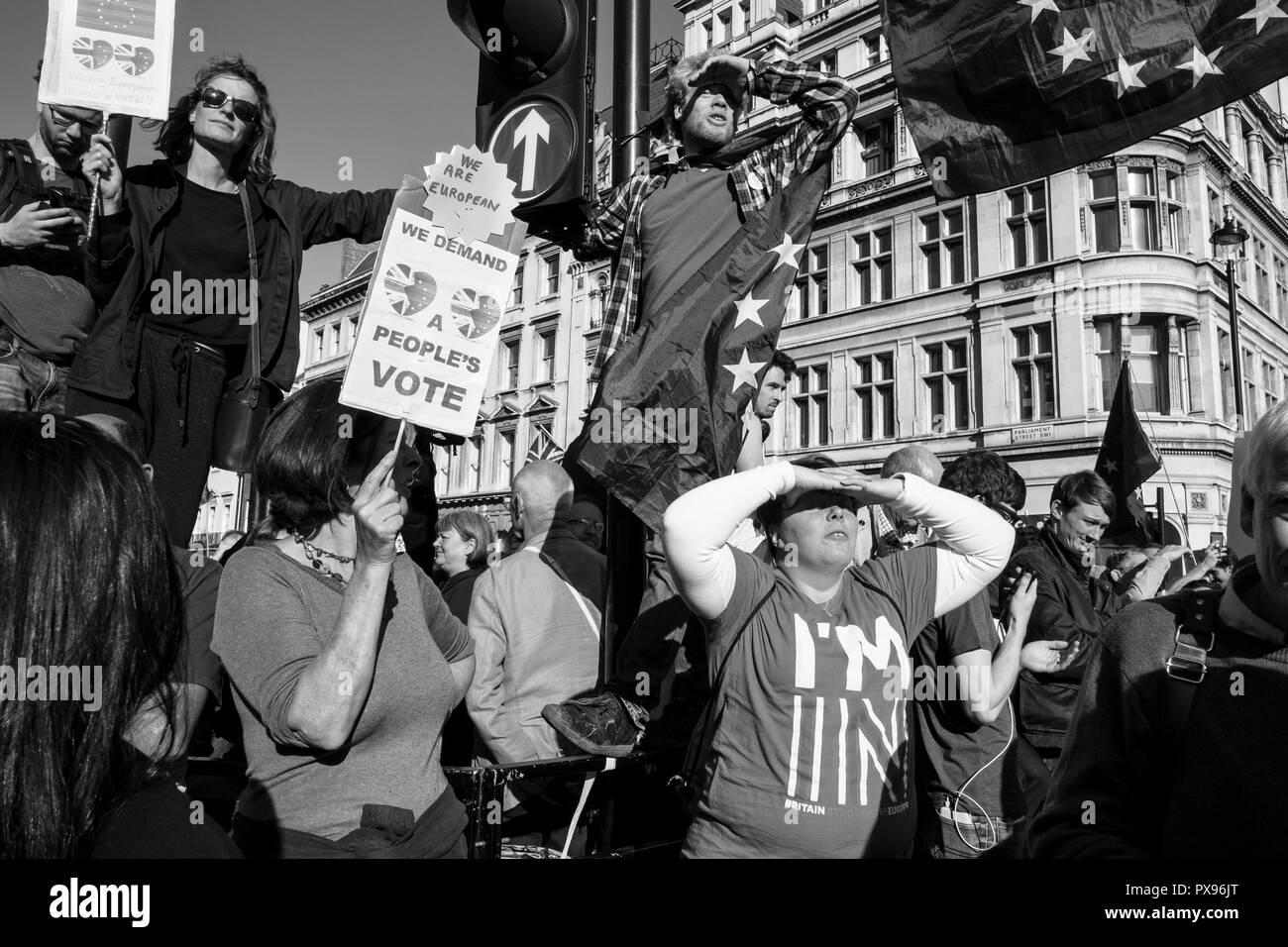 London, UK, 20th October 2018. The People's Vote March For The Future . More than 500,000 people marched on Parliament to demand their democratic voice to be heard in a landmark demonstration billed as the most important protest of a generation. As the date of the UK's Brexit from the European Union, the protesters gathered in their tens of thousands to make political leaders take notice and to give the British public a vote on the final Brexit deal. (photo by Mike Abrahams/Alamy Live News - Stock Image