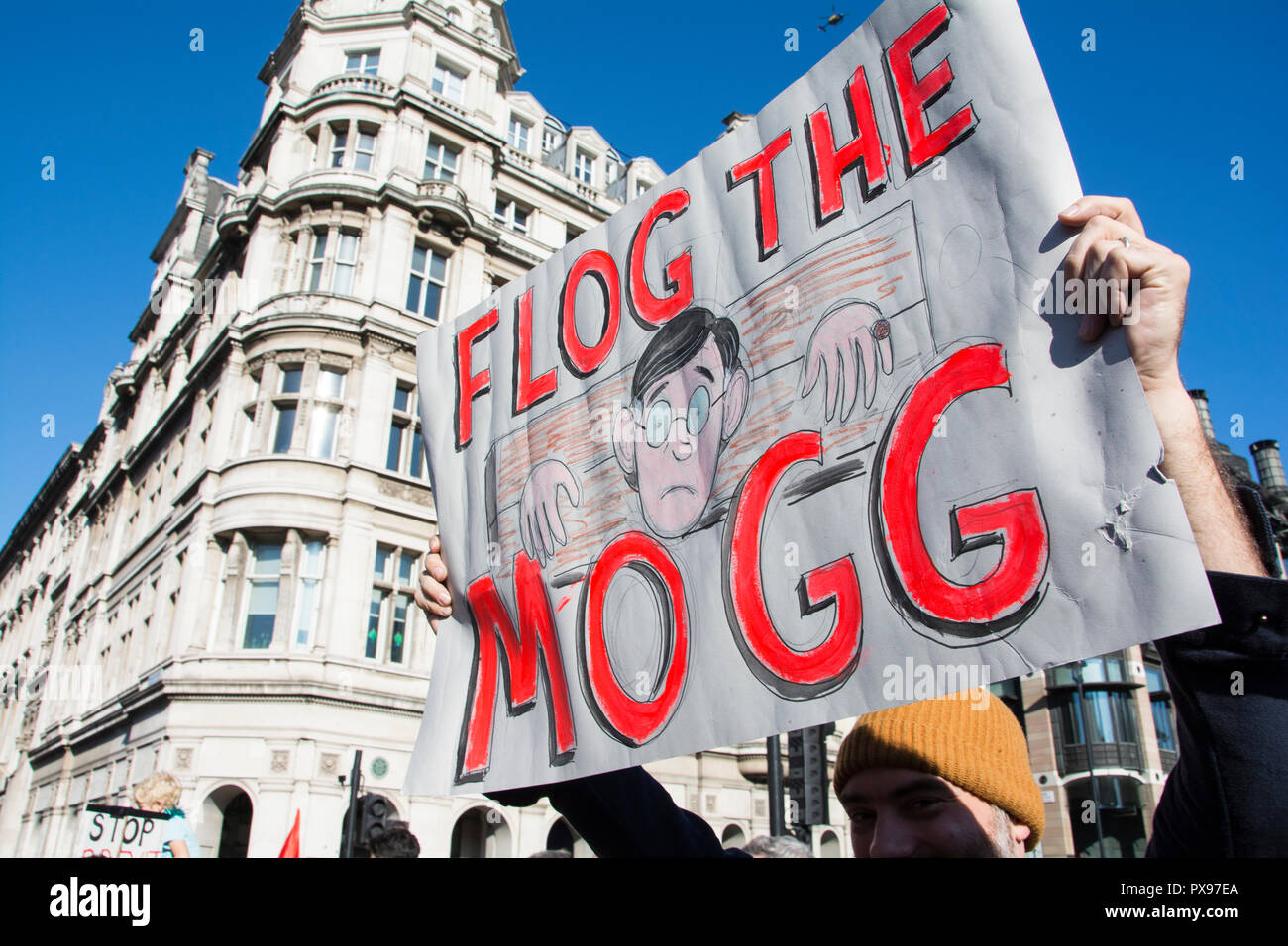 London, England, UK. 20 October, 2018.  Flog the Mogg placard. More than 600,000 people took part in today's People's Vote march to Parliament Square © Benjamin John/ Alamy Live News. - Stock Image