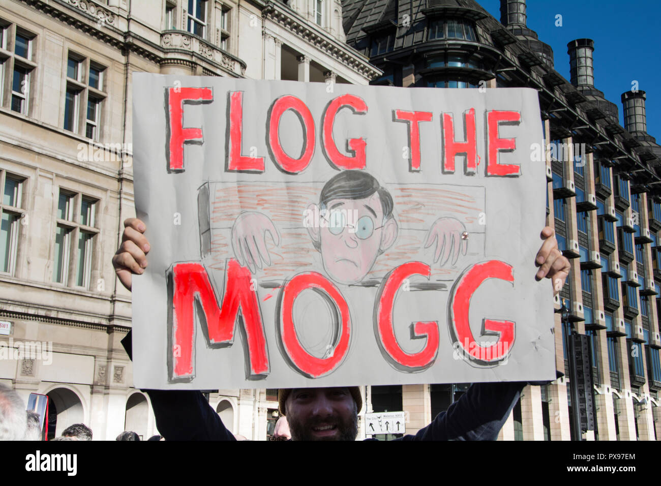 London, England, UK. 20 October 2018.  Flog the Mogg placard. More than 600,000 people took part in today's People's Vote march to Parliament Square © Benjamin John/ Alamy Live News. - Stock Image