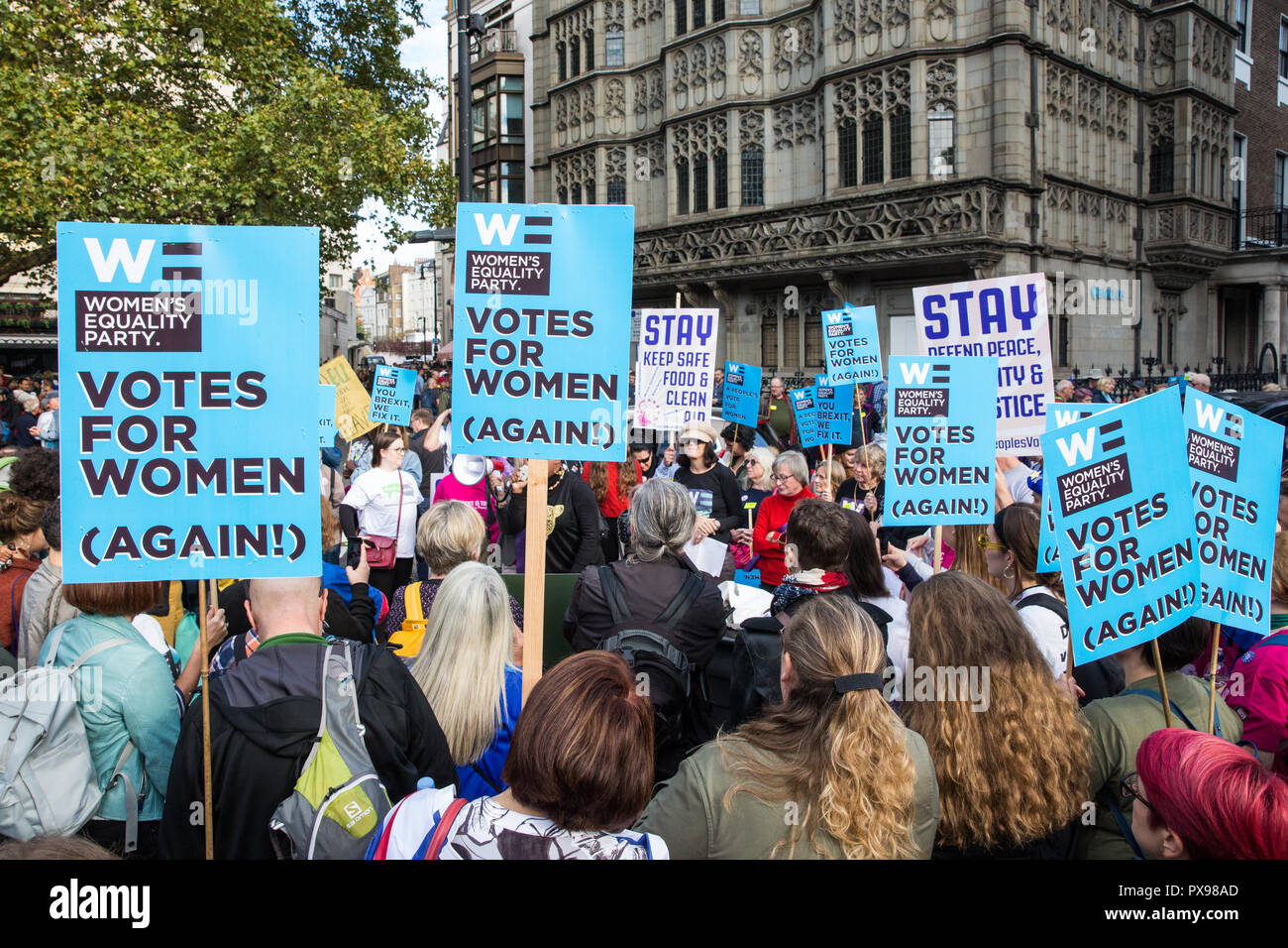 London, UK. 20th October, 2018. Supporters of the Women's Equality Party join hundreds of thousands of people taking part in the People's Vote March for the Future to demand a vote on the final Brexit deal. The People's Vote is a grassroots campaign supported by Open Britain, European Movement UK, Britain for Europe, Scientists for EU, Healthier In, Our Future Our Choice, For Our Future's Sake, Wales For Europe and InFacts. Credit: Mark Kerrison/Alamy Live News - Stock Image