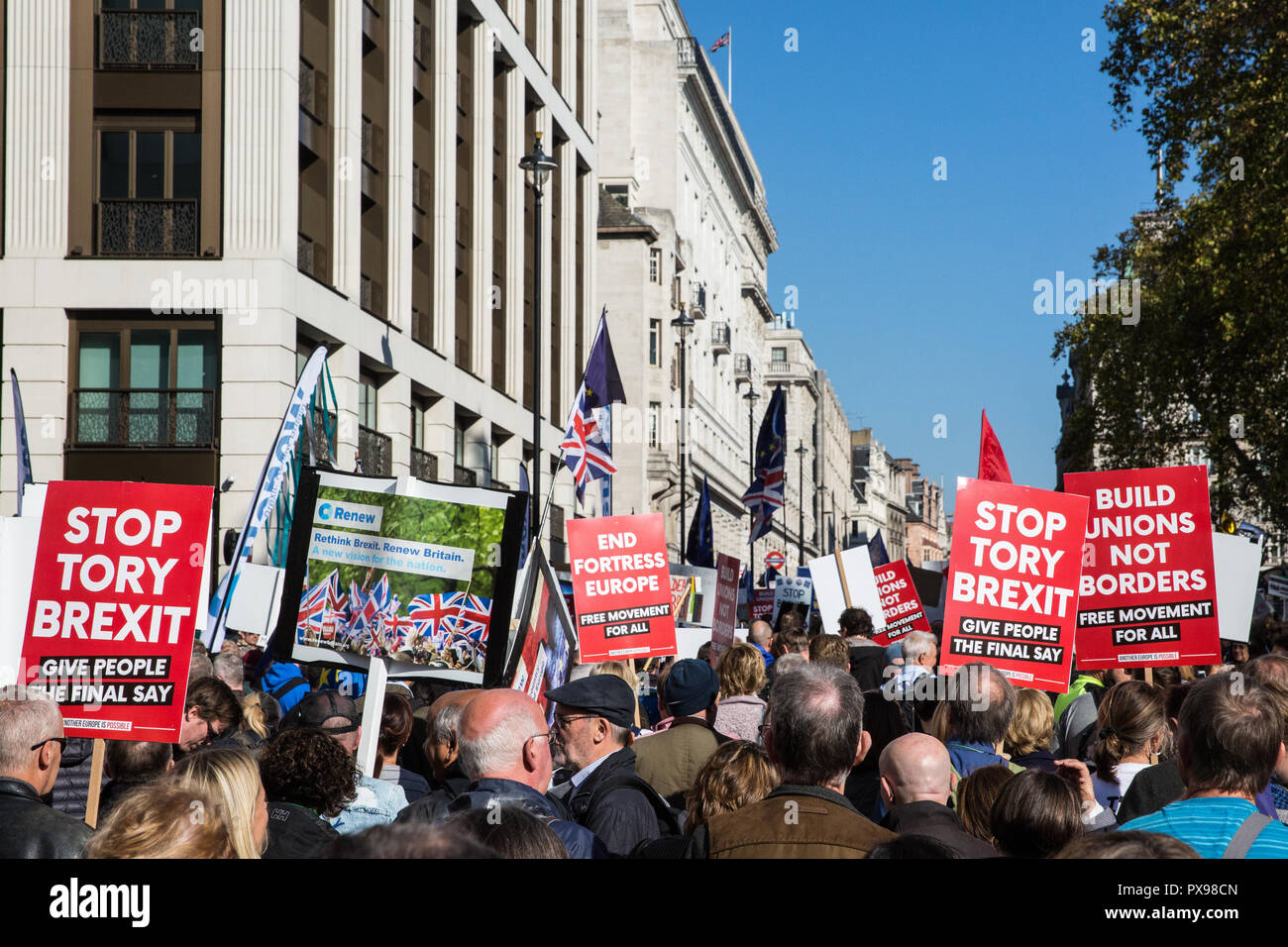London, UK. 20th October, 2018. Hundreds of thousands of people, led by young people who were unable to vote in the Brexit referendum in 2016, take part in the People's Vote March for the Future to demand a vote on the final Brexit deal. The People's Vote is a grassroots campaign supported by Open Britain, European Movement UK, Britain for Europe, Scientists for EU, Healthier In, Our Future Our Choice, For Our Future's Sake, Wales For Europe and InFacts. Credit: Mark Kerrison/Alamy Live News - Stock Image