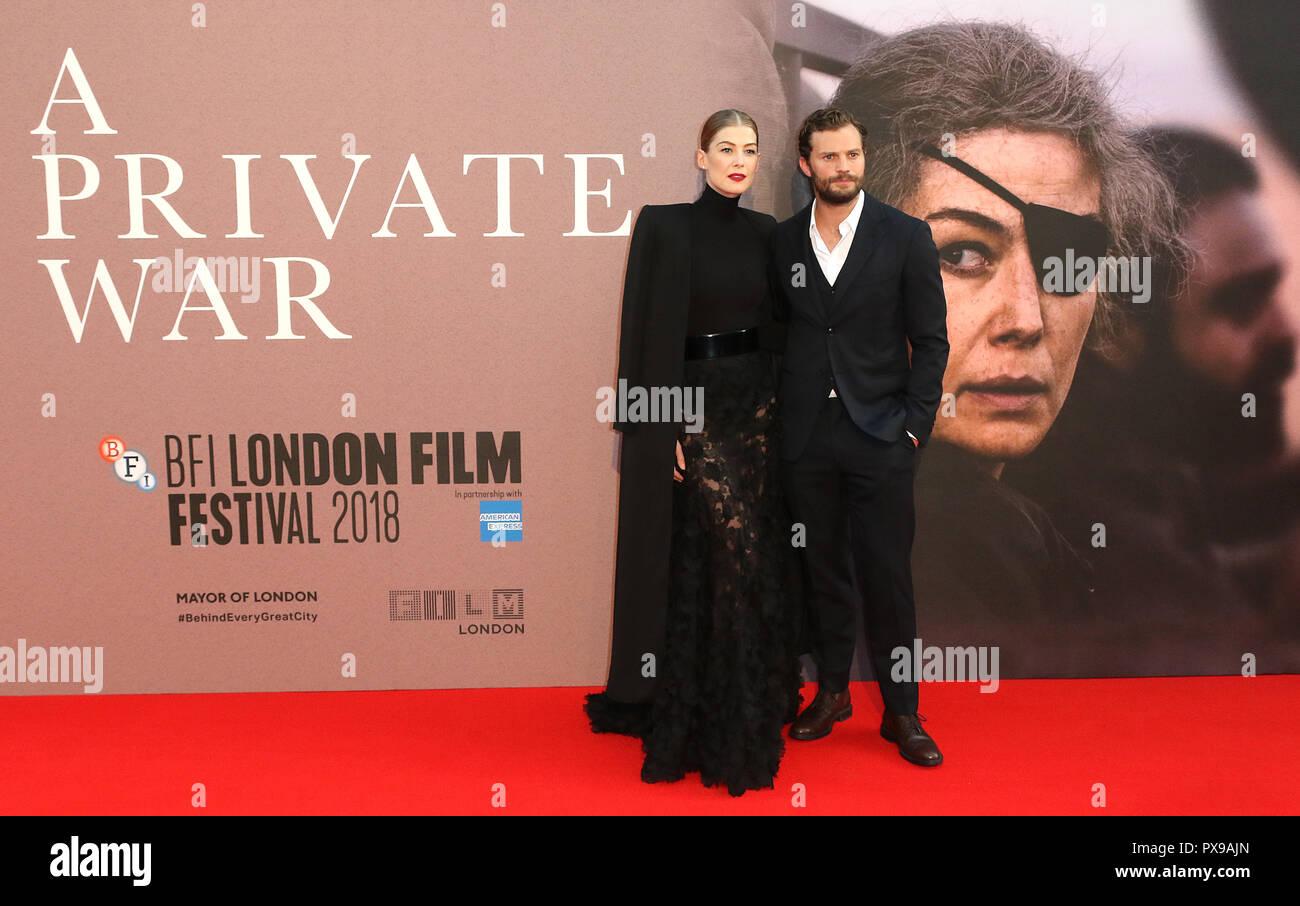 Rosamund Pike, Jamie Dornan, A Private War - European Premiere, BFI London Film Festival, Leicester Square, London, UK, 20 October 2018, Photo by Richard Goldschmidt - Stock Image