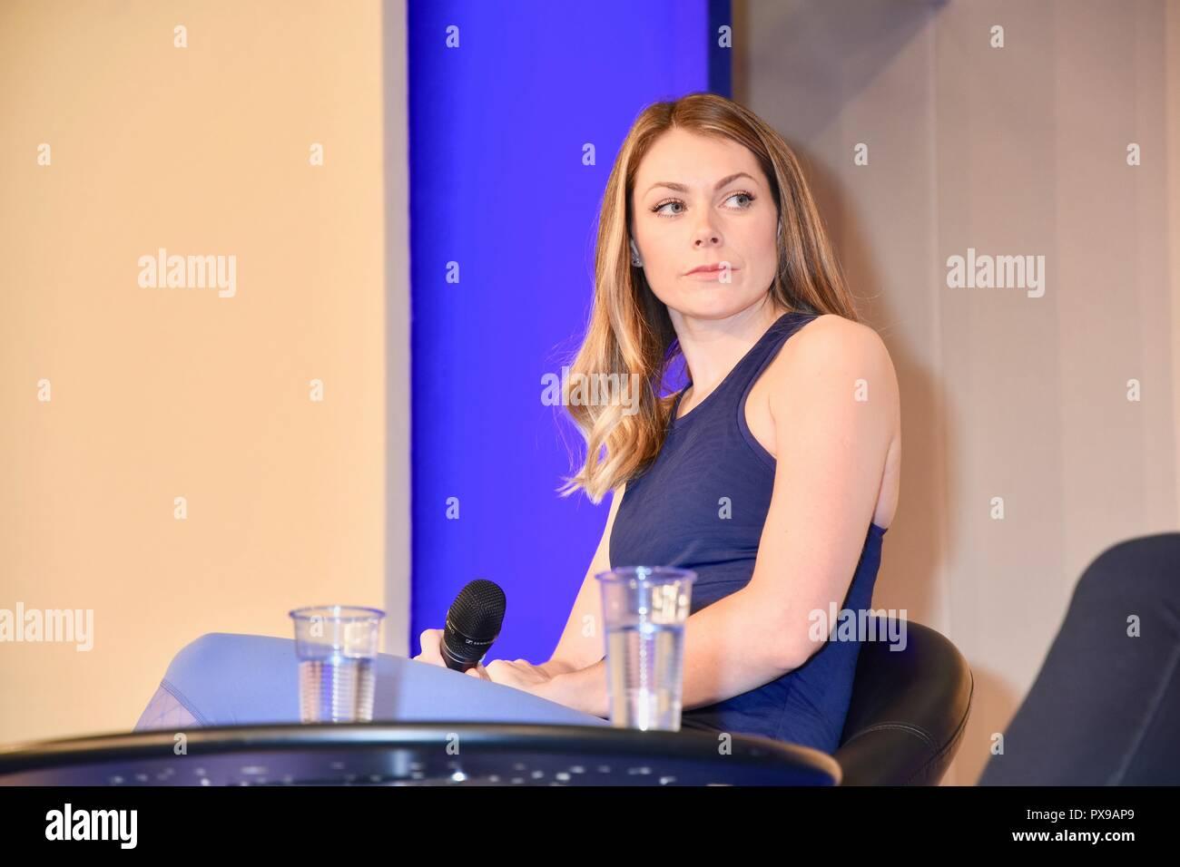 Georgia Jones,Talk on Pre & Postnatal Fitness,The Baby Show,Day Two,Kensington Olympia,London.UK - Stock Image